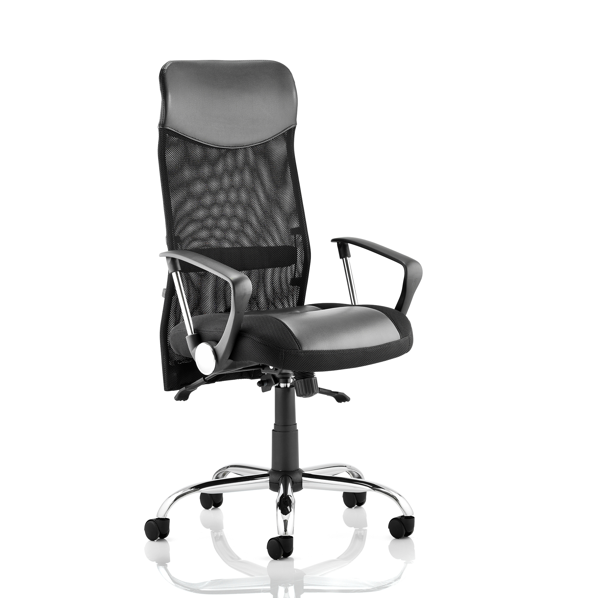 Executive seating Trexus Vegas Executive Chair With Arms Leather Headrest Leather Seat Mesh Back Black Ref EX000074