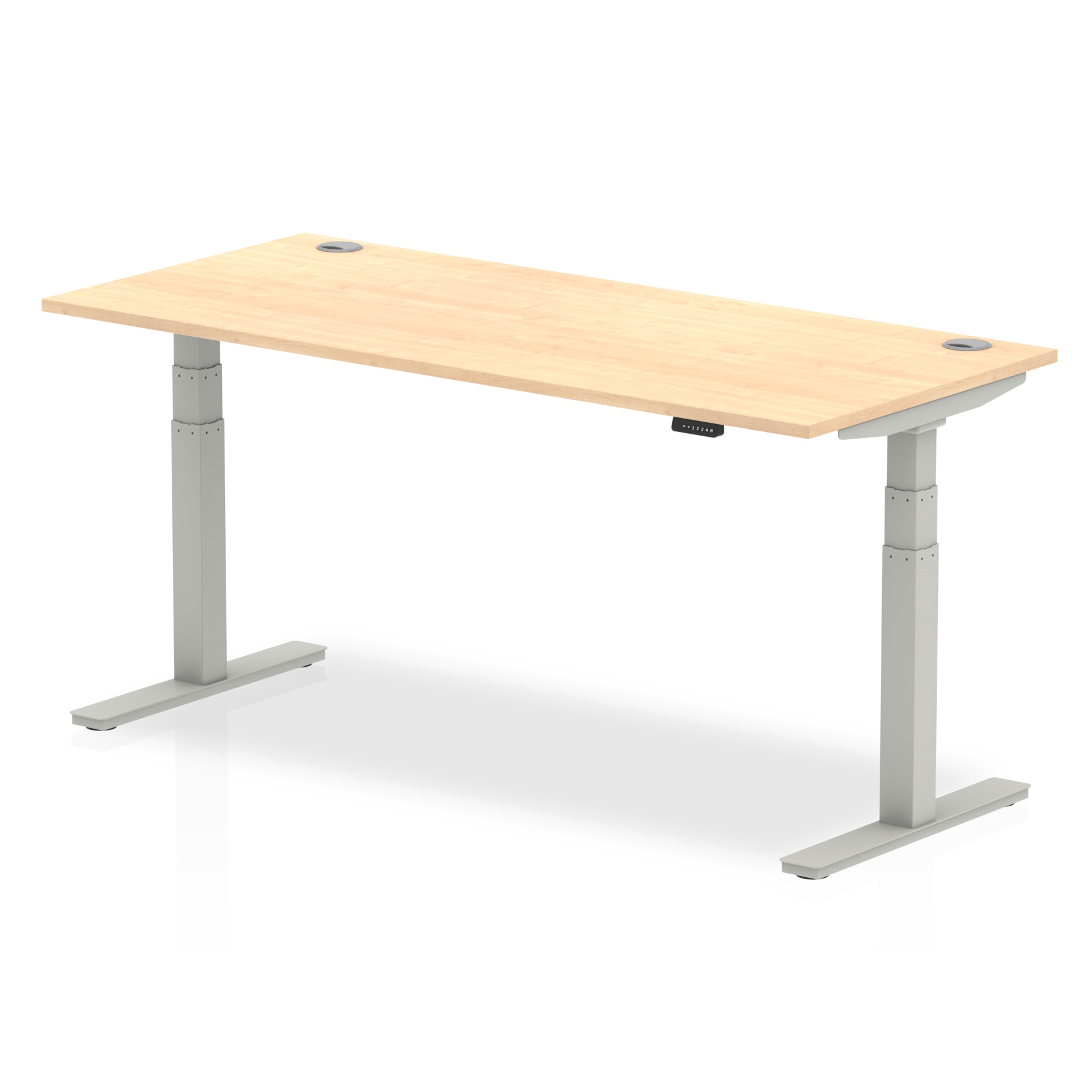 Trexus Sit Stand Desk With Cable Ports Silver Legs 1800x800mm Maple Ref HA01096