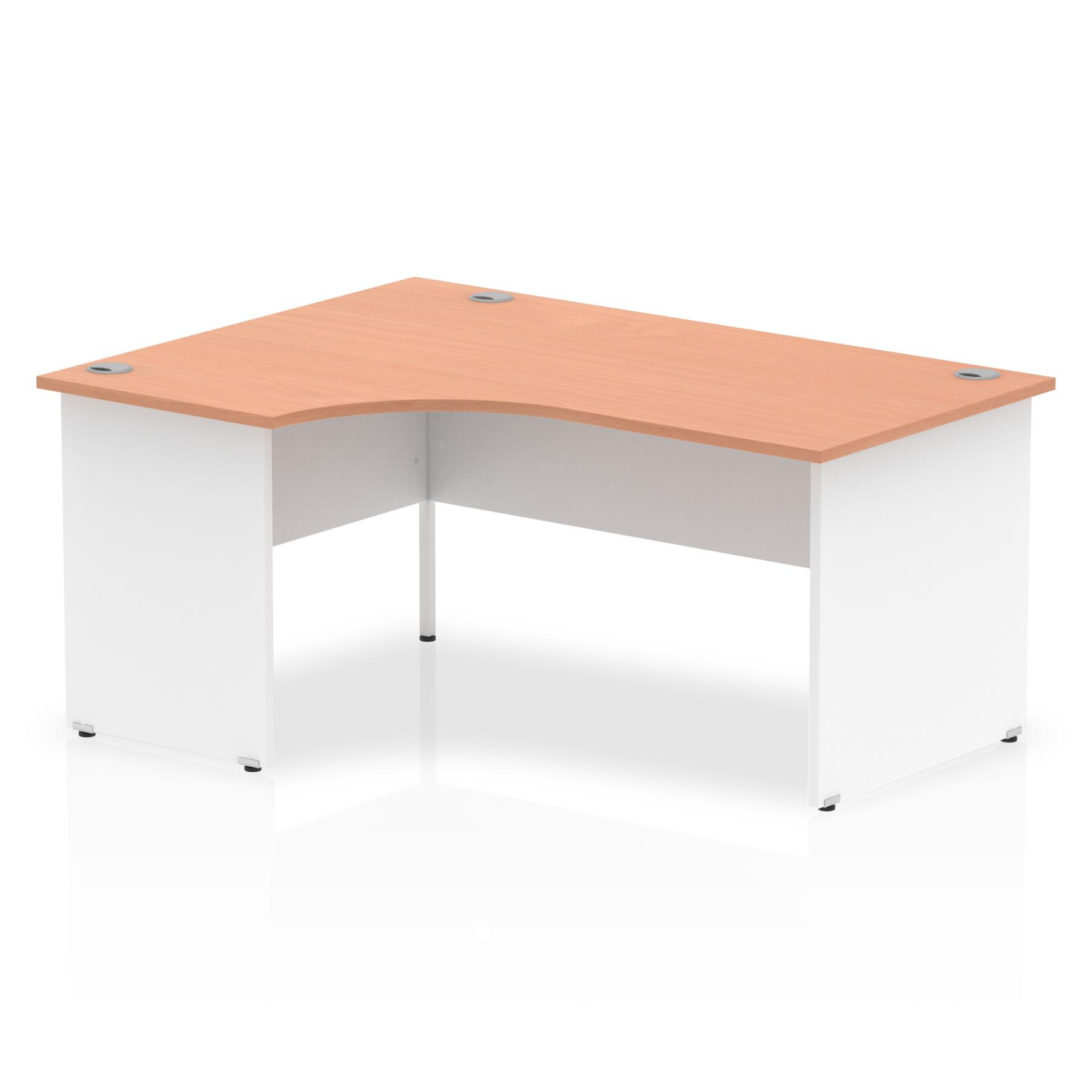 Trexus Desk Crescent Left Hand Panel End 1600x800mm Beech Top White Panels Ref TT000027