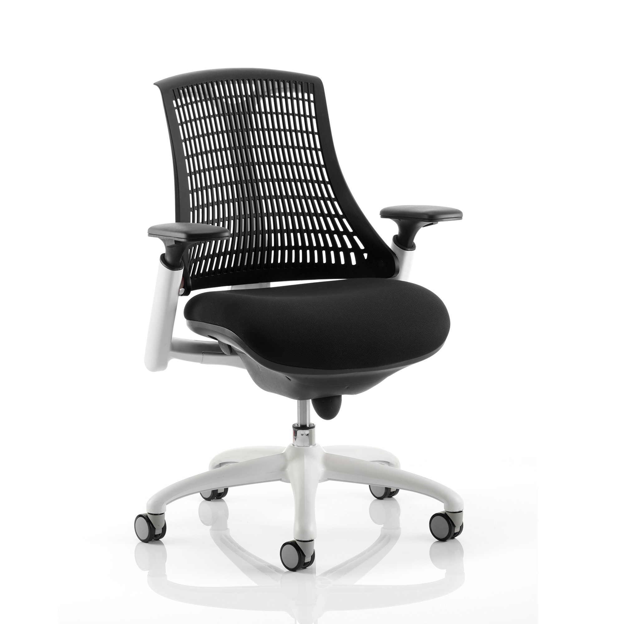 Trexus Flex Task Operator Chair With Arms Black Fabric Seat Black Back White Frame Ref KC0055