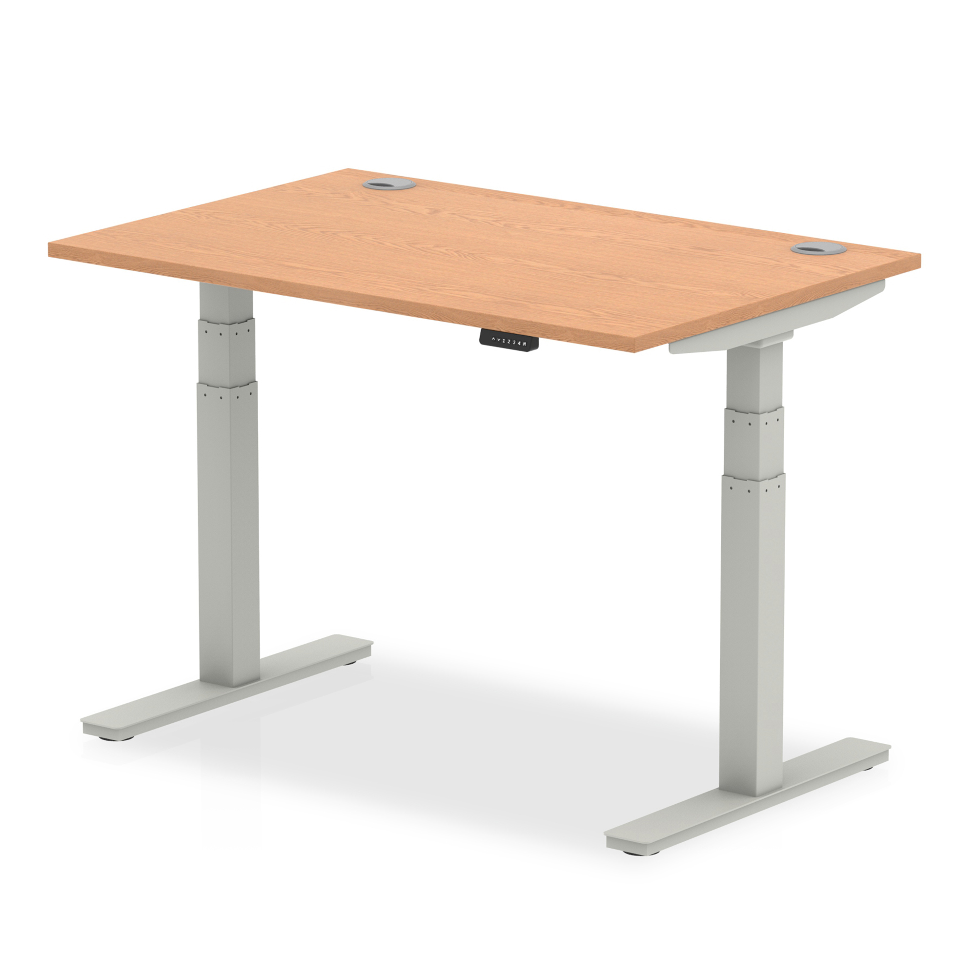 Trexus Sit Stand Desk With Cable Ports Silver Legs 1200x800mm Oak Ref HA01097