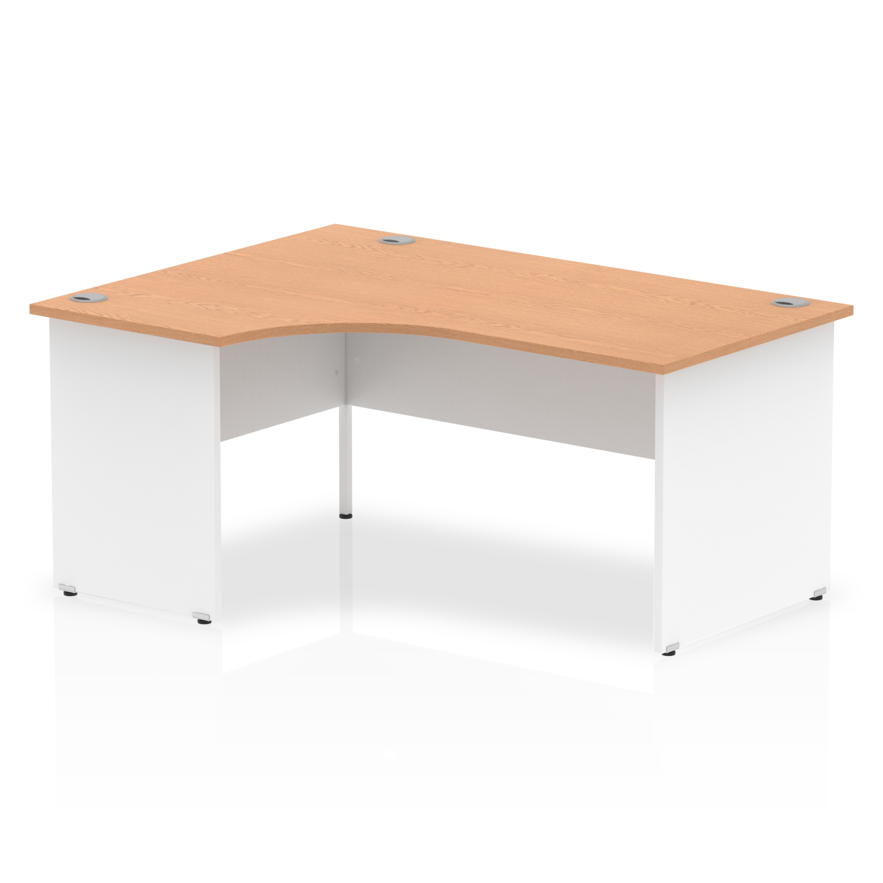 Trexus Desk Radial Left Hand Panel End 1600x800mm Oak Top White Panels Ref TT000029