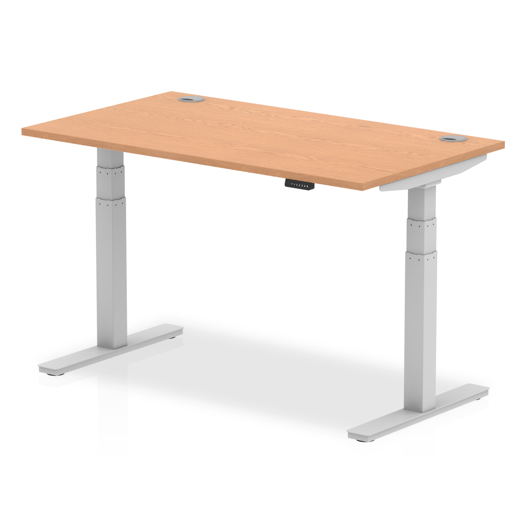 Trexus Sit Stand Desk With Cable Ports Silver Legs 1400x800mm Oak Ref HA01098