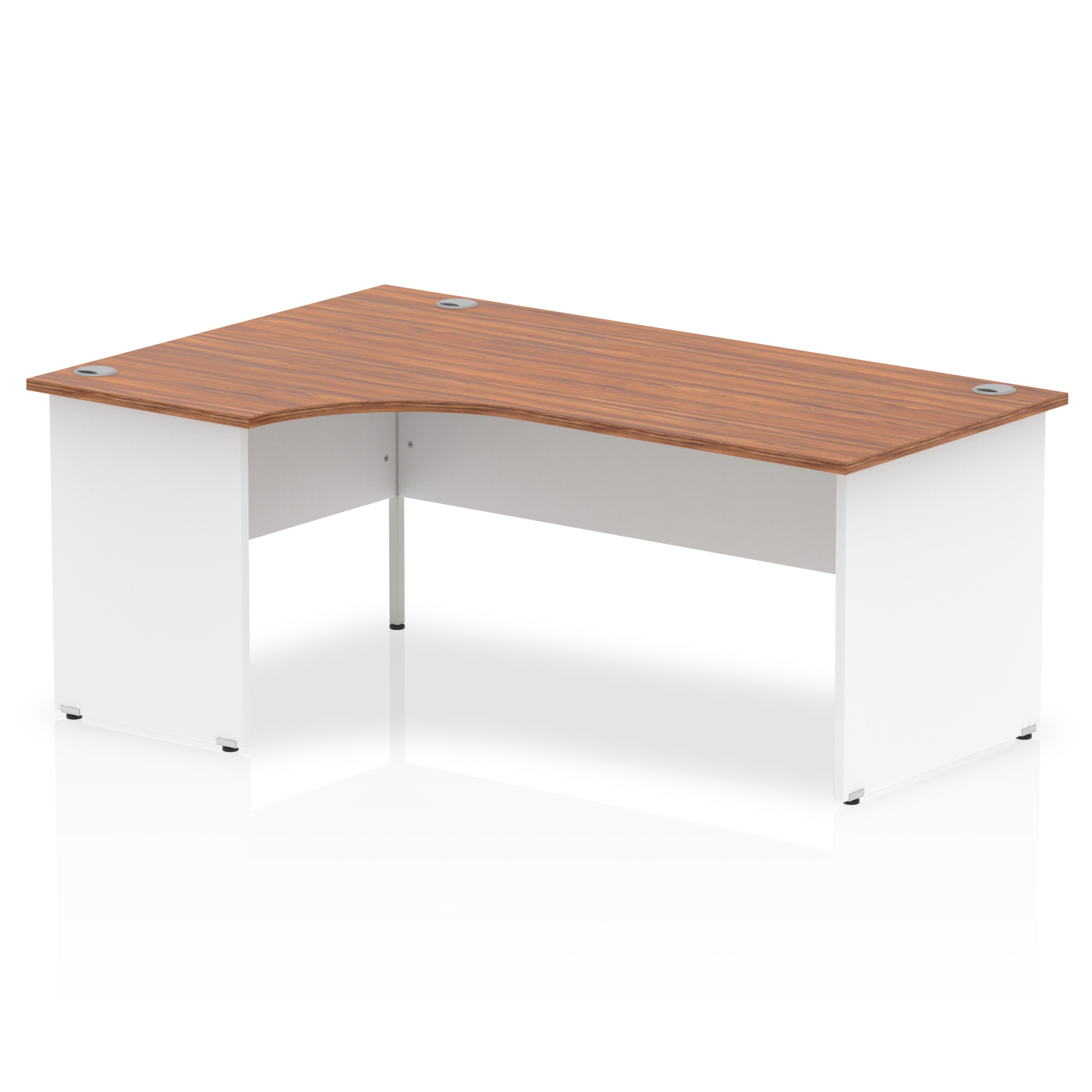 Trexus Desk Radial Left Hand Panel End 1800x800mm Walnut Top White Panels Ref TT000031