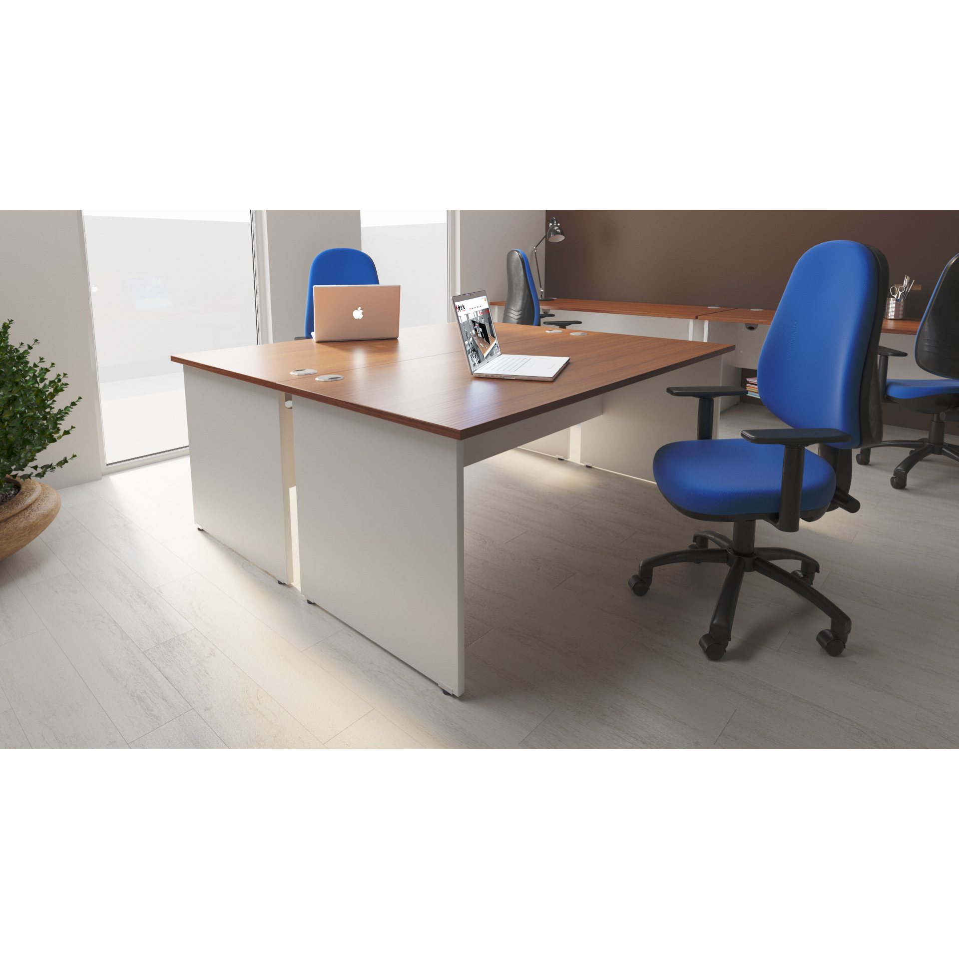 Trexus Desk Rectangle Panel End 1200x600mm Walnut Top White Panels Ref TT000085