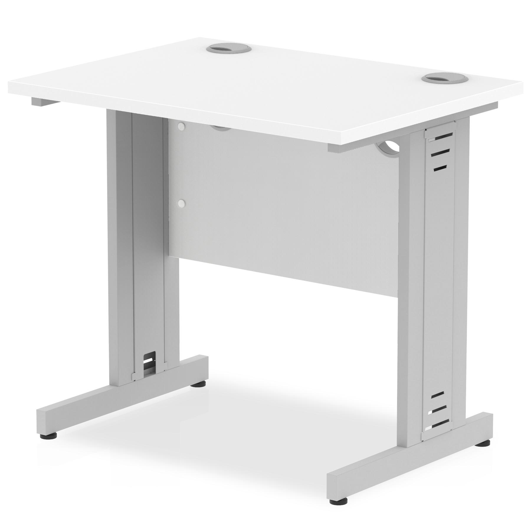 Trexus Desk Rectangle Cable Managed Silver Leg 800x600mm White Ref MI002897