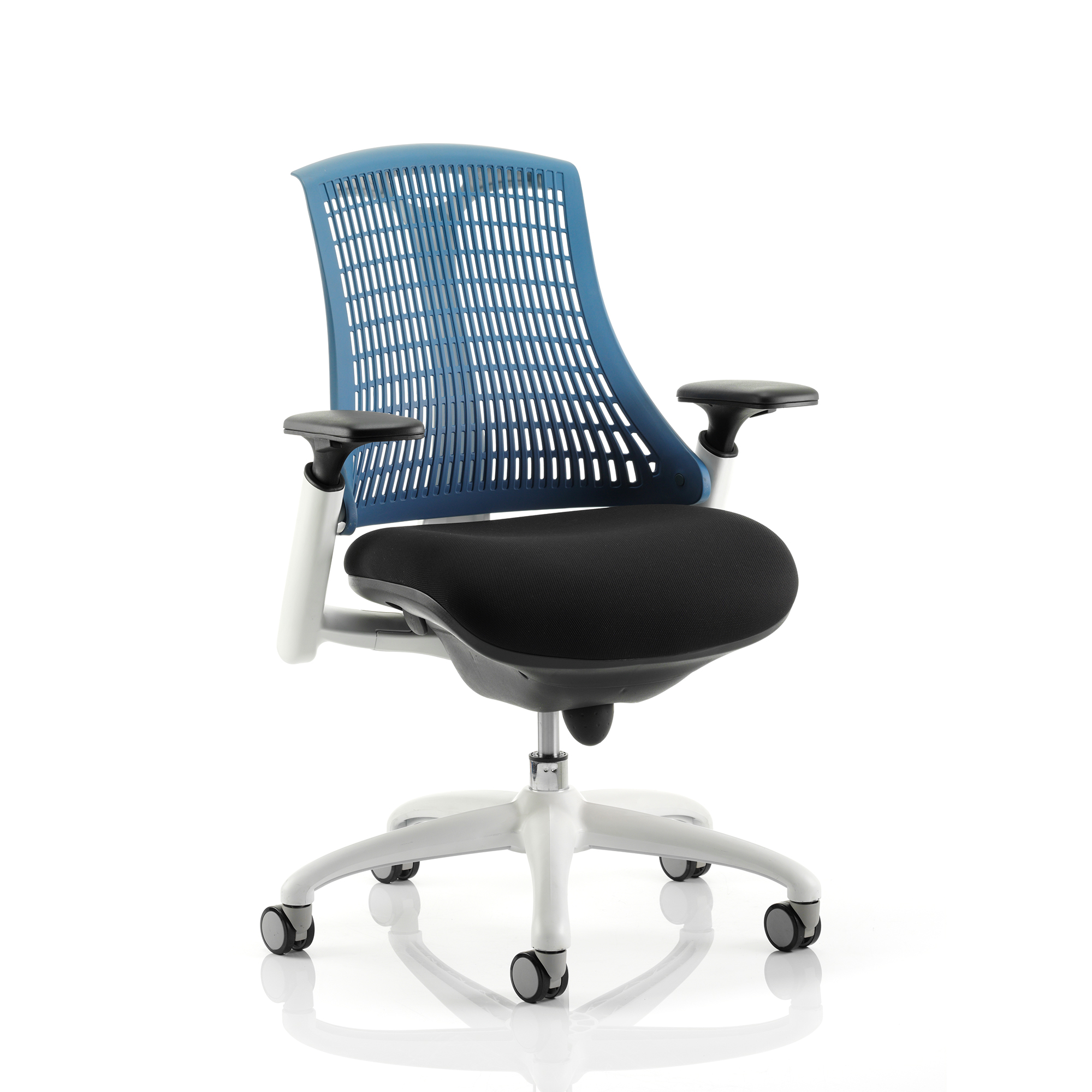 Trexus Flex Task Operator Chair With Arms Black Fabric Seat Blue Back White Frame Ref KC0060
