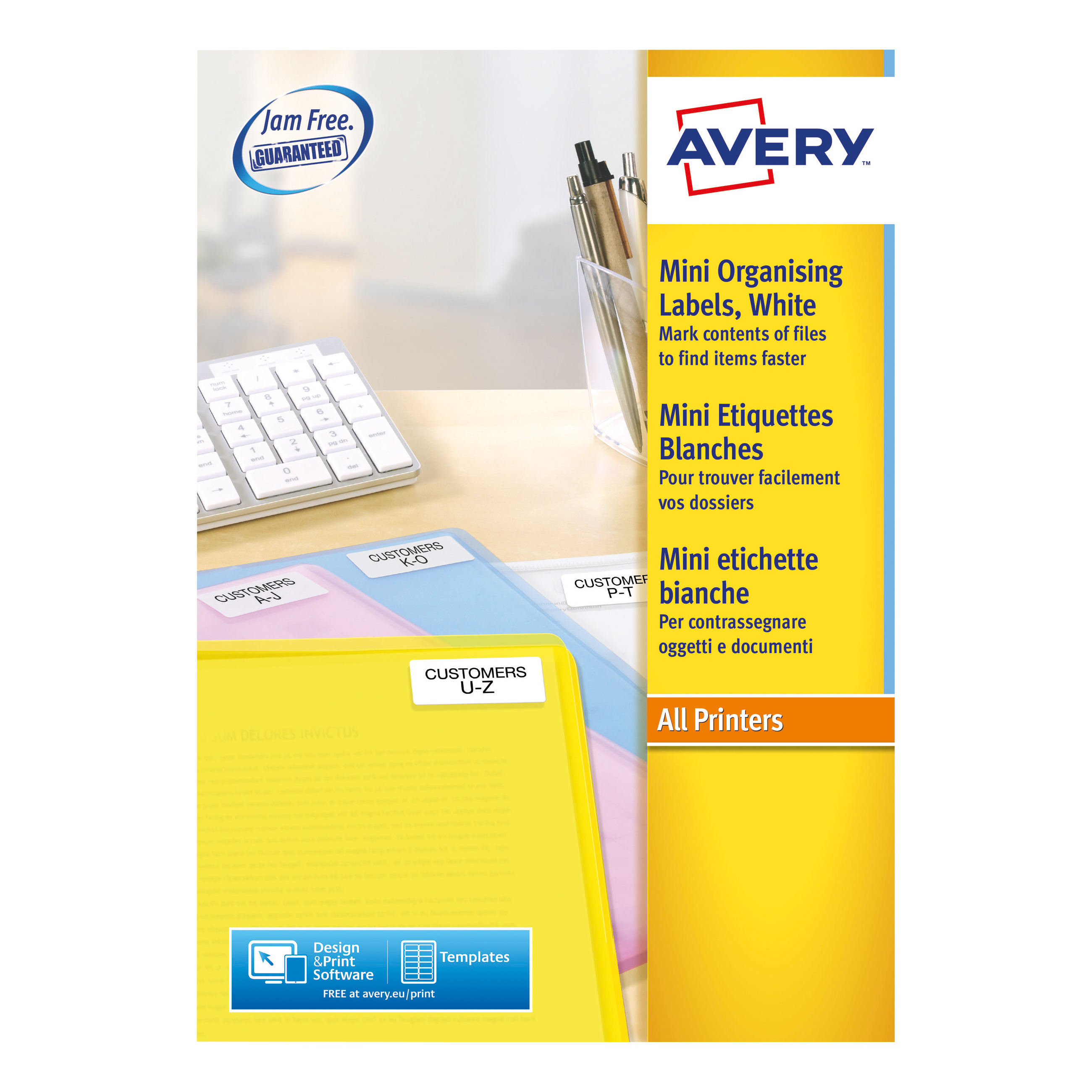 Avery Mini Multipurpose Labels Laser 84 per Sheet 46x11.1mm White Ref L7656-100 [8400 Labels]