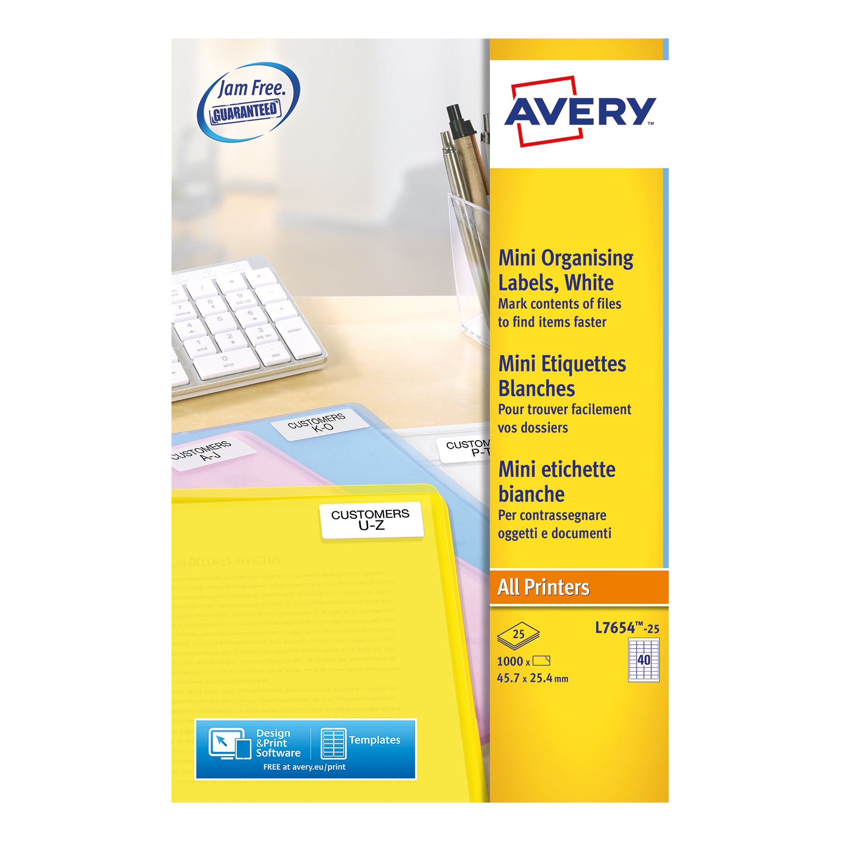Avery Mini Multipurpose Labels Laser 40 per Sheet 45.7x25.4mm White Ref L7654-25 [1000 Labels]