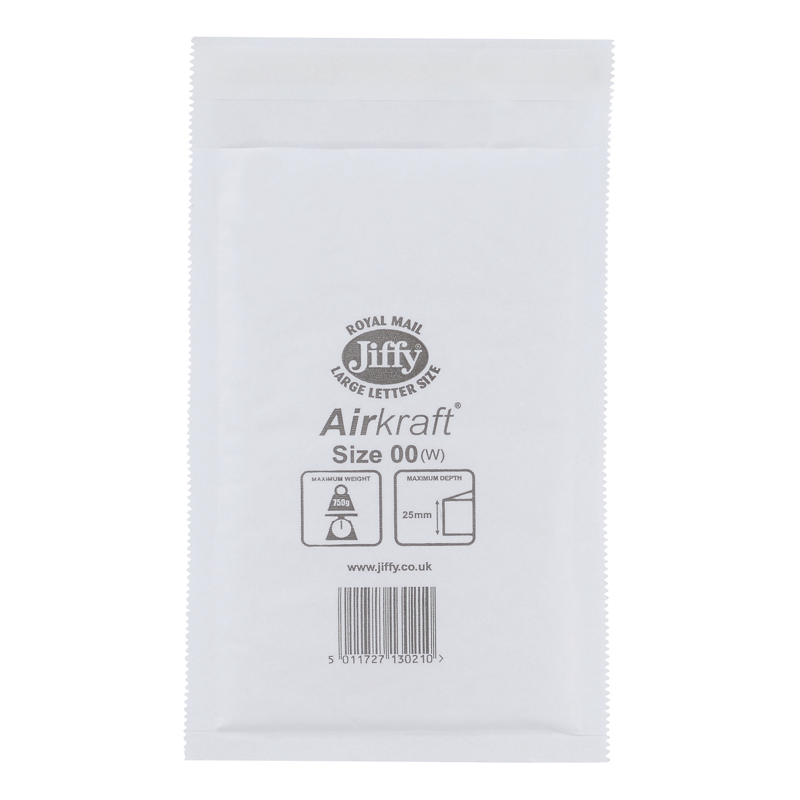 Jiffy Airkraft Postal Bags Bubble-lined Peel and Seal Size 00 115x195mm White Ref JL-00 [Pack 100]