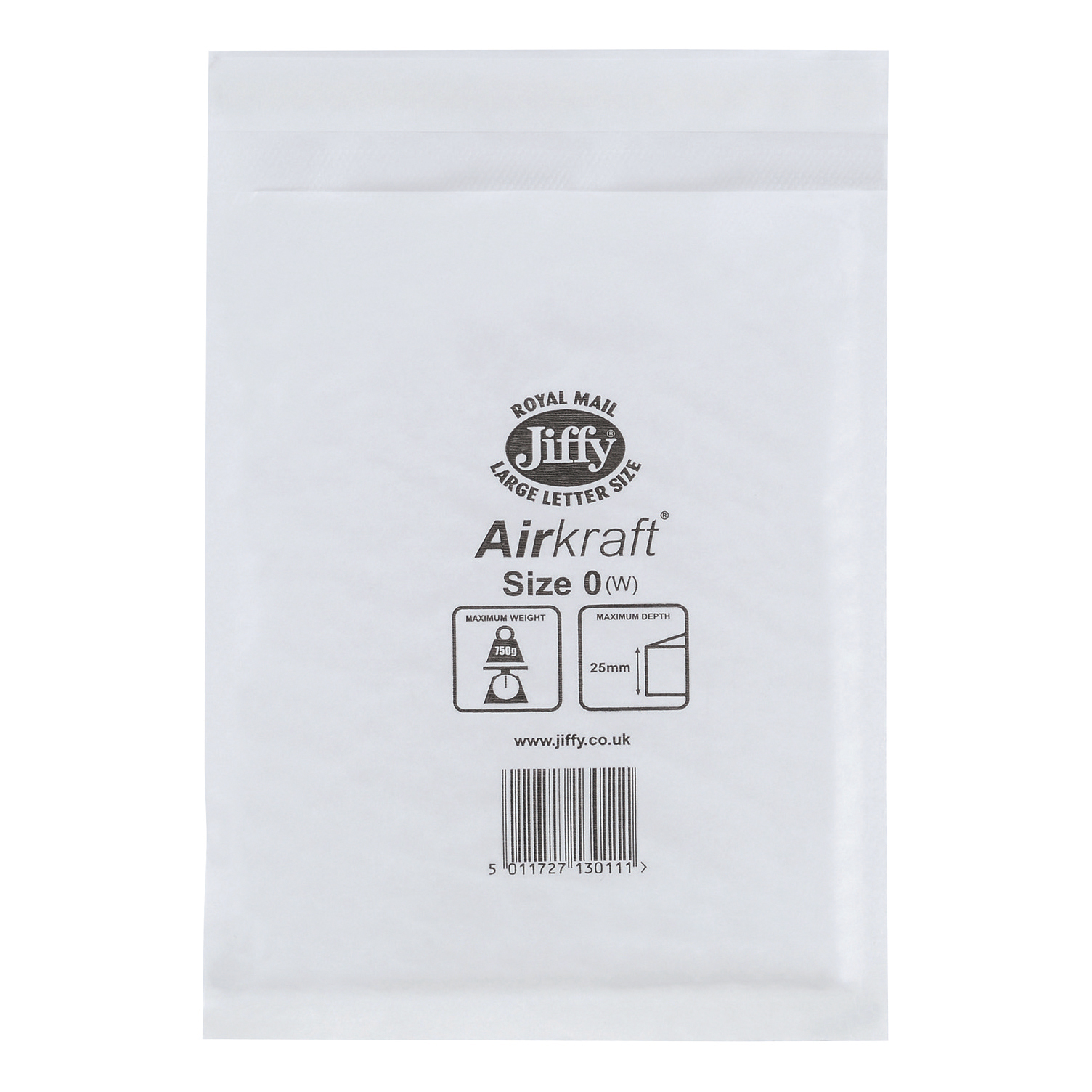 Jiffy Airkraft Postal Bags Bubble-lined Peel and Seal Size 0 White 140x195mm Ref JL-0 Pack 100