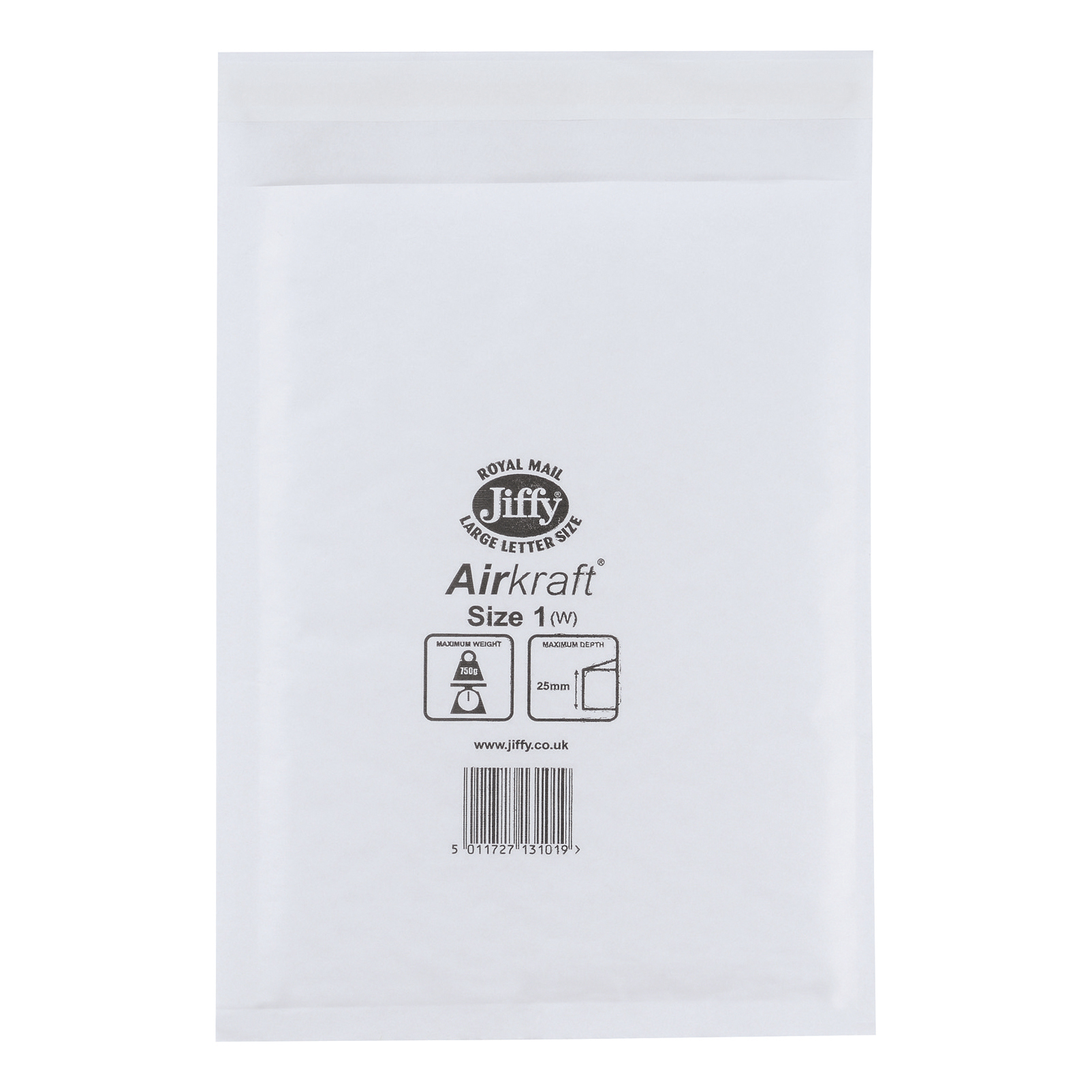 Jiffy Airkraft Postal Bags Bubble-lined Size 1 Peel and Seal 170x245mm White Ref JL-1 Pack 100