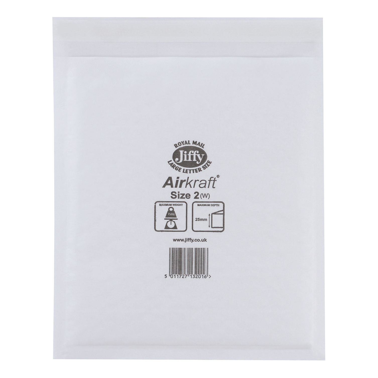 Jiffy Airkraft Postal Bags Bubble-lined Size 2 Peel and Seal 205x245mm White Ref JL-2 Pack 100