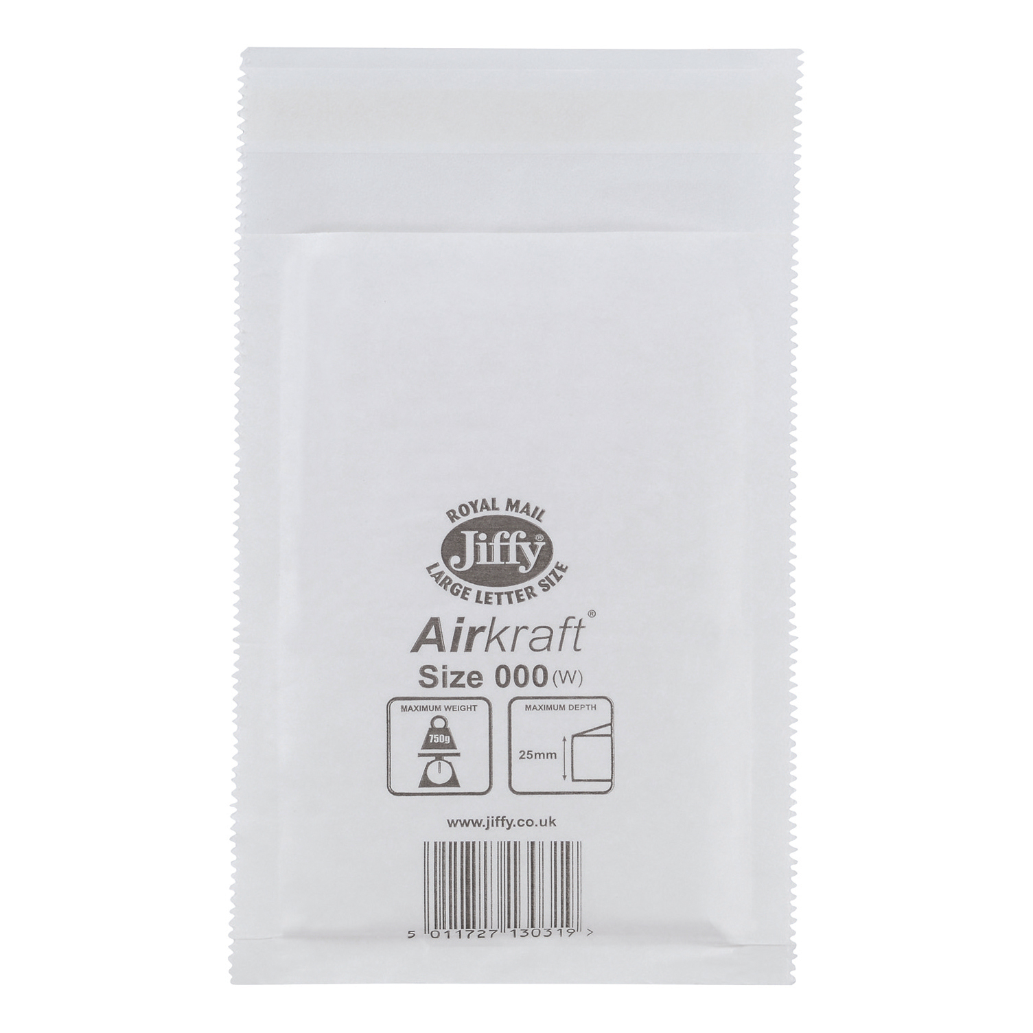 Jiffy Airkraft Postal Bags Bubble-lined Size 000 Peel and Seal 90x145mm White Ref JL-000 [Pack 150]