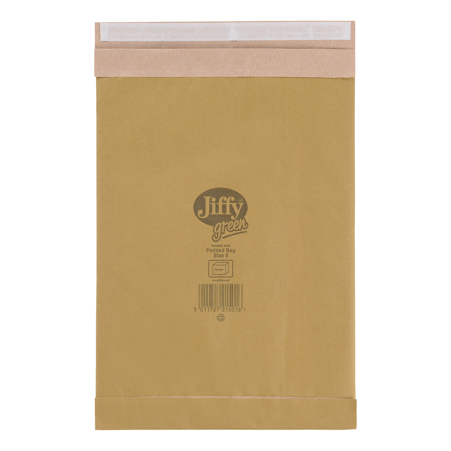 Jiffy Green Padded Bags with Kraft Outer and Recycled Cushioning Size 5 245x381mm Ref 01901 Pack 25