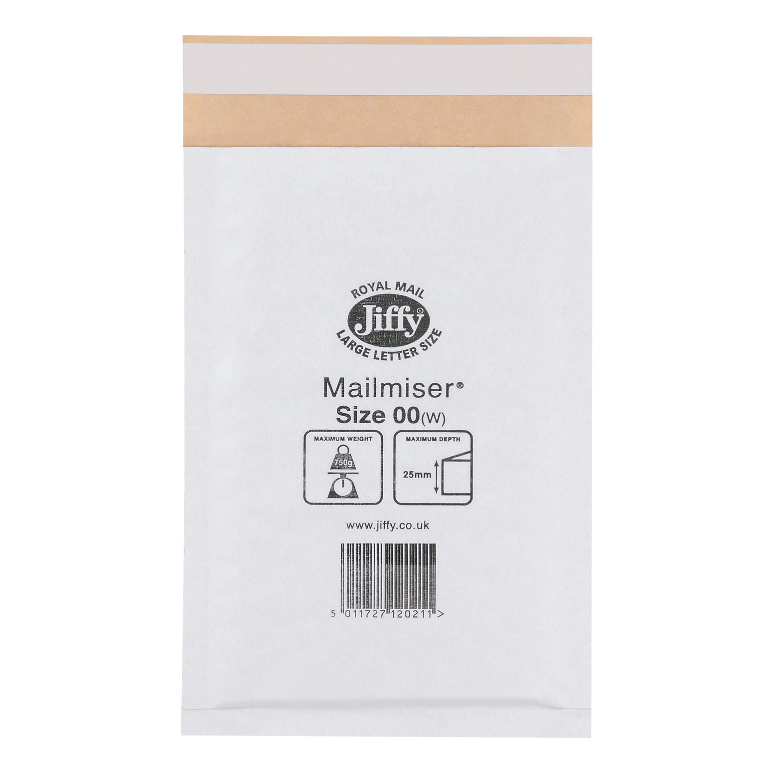 Jiffy Mailmiser Protective Envelopes Bubble-lined Size 00 115x195mm White Ref JMM-WH-00 [Pack 100]