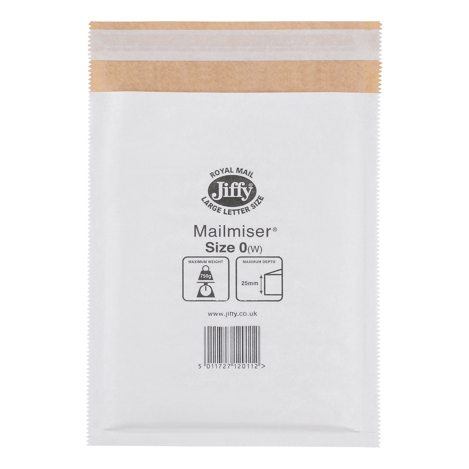 Jiffy Mailmiser Protective Envelopes Bubble-lined Size 0 P&S 140x195mm White Ref JMM-WH-0 [Pack 100]
