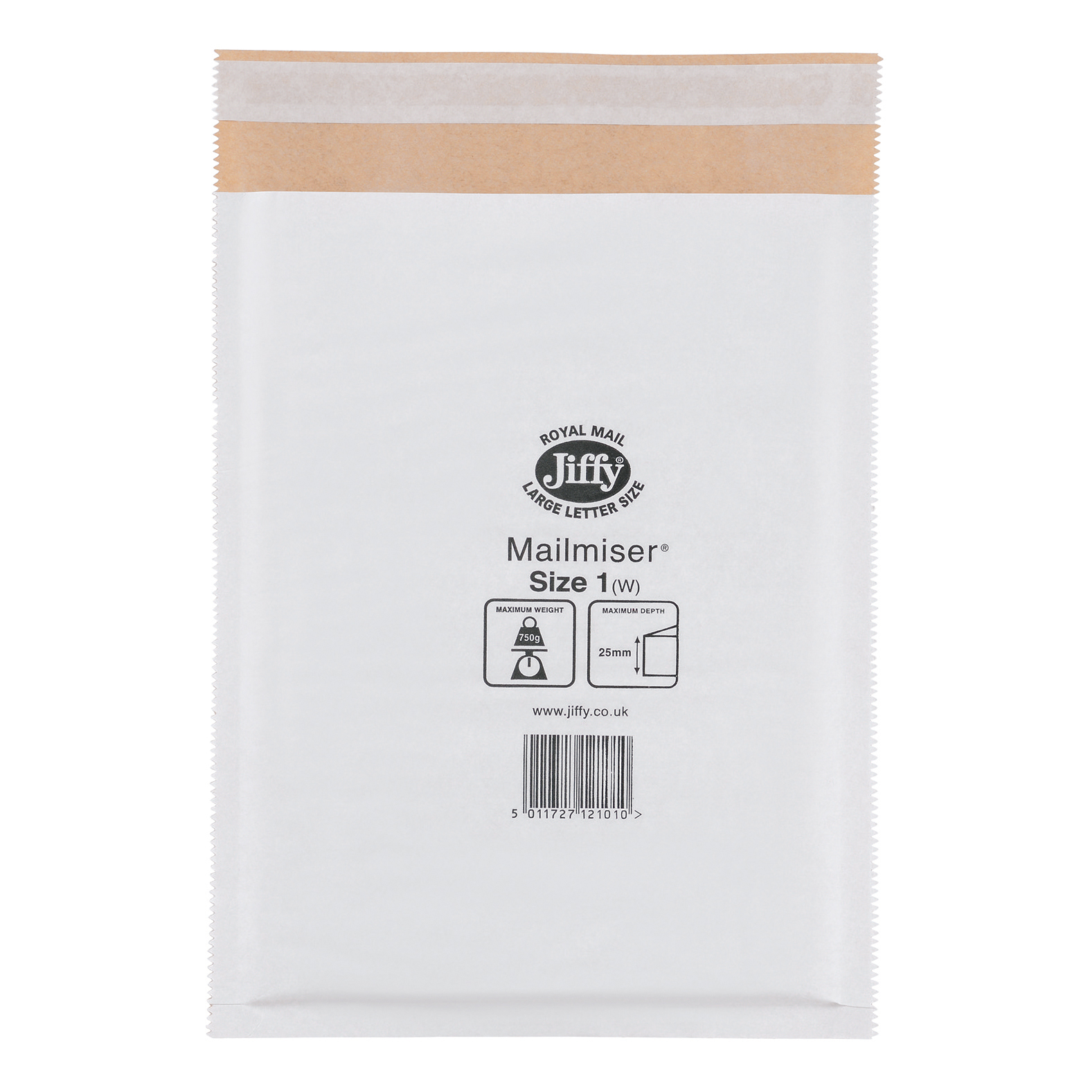 Jiffy Mailmiser Protective Envelopes Bubble-lined Size 1 P&S 170x245mm White Ref JMM-WH-1 Pack 100