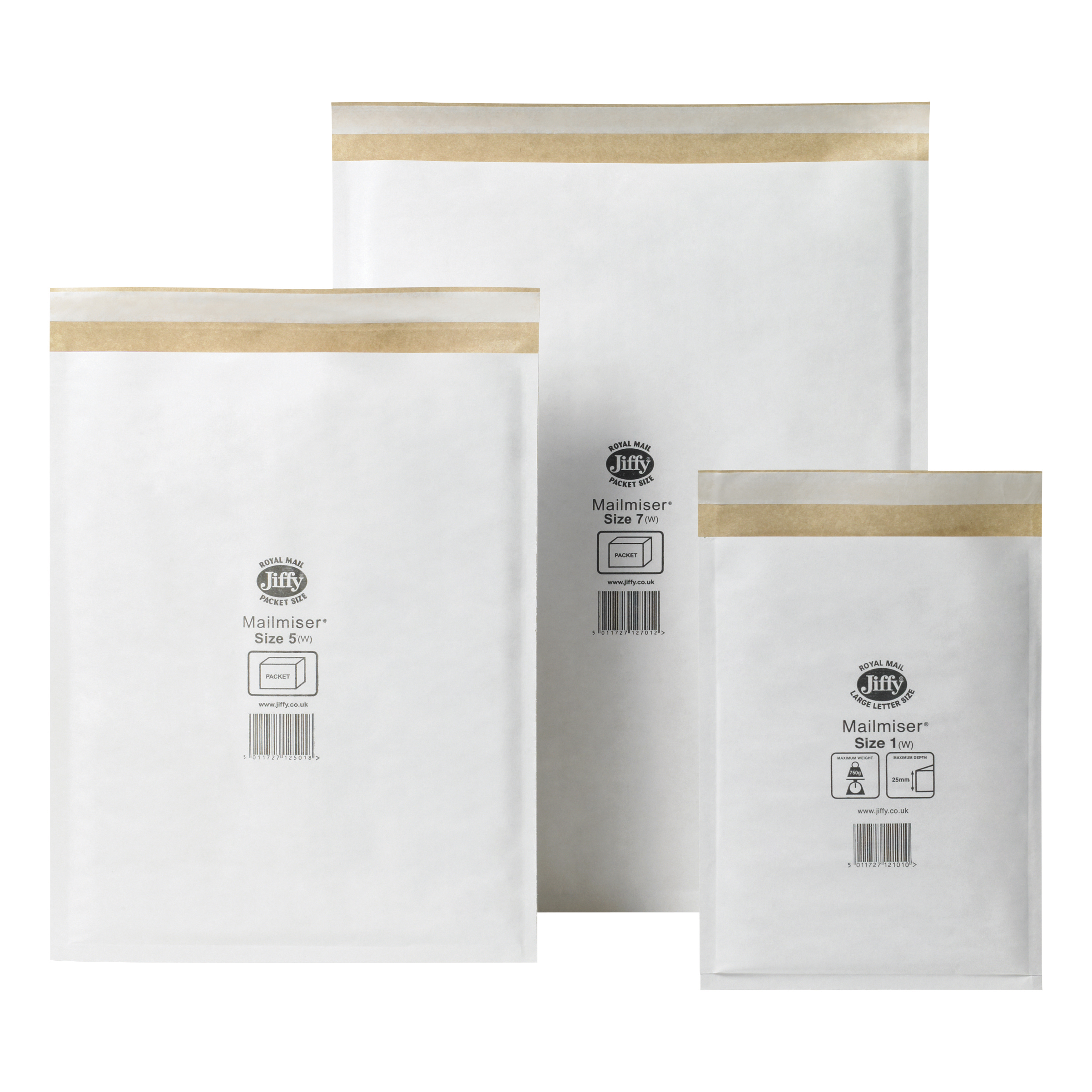Jiffy Mailmiser Protective Envelopes Bubble-lined Size 7 White 340x445mm Ref JMM-WH-7 [Pack 50]