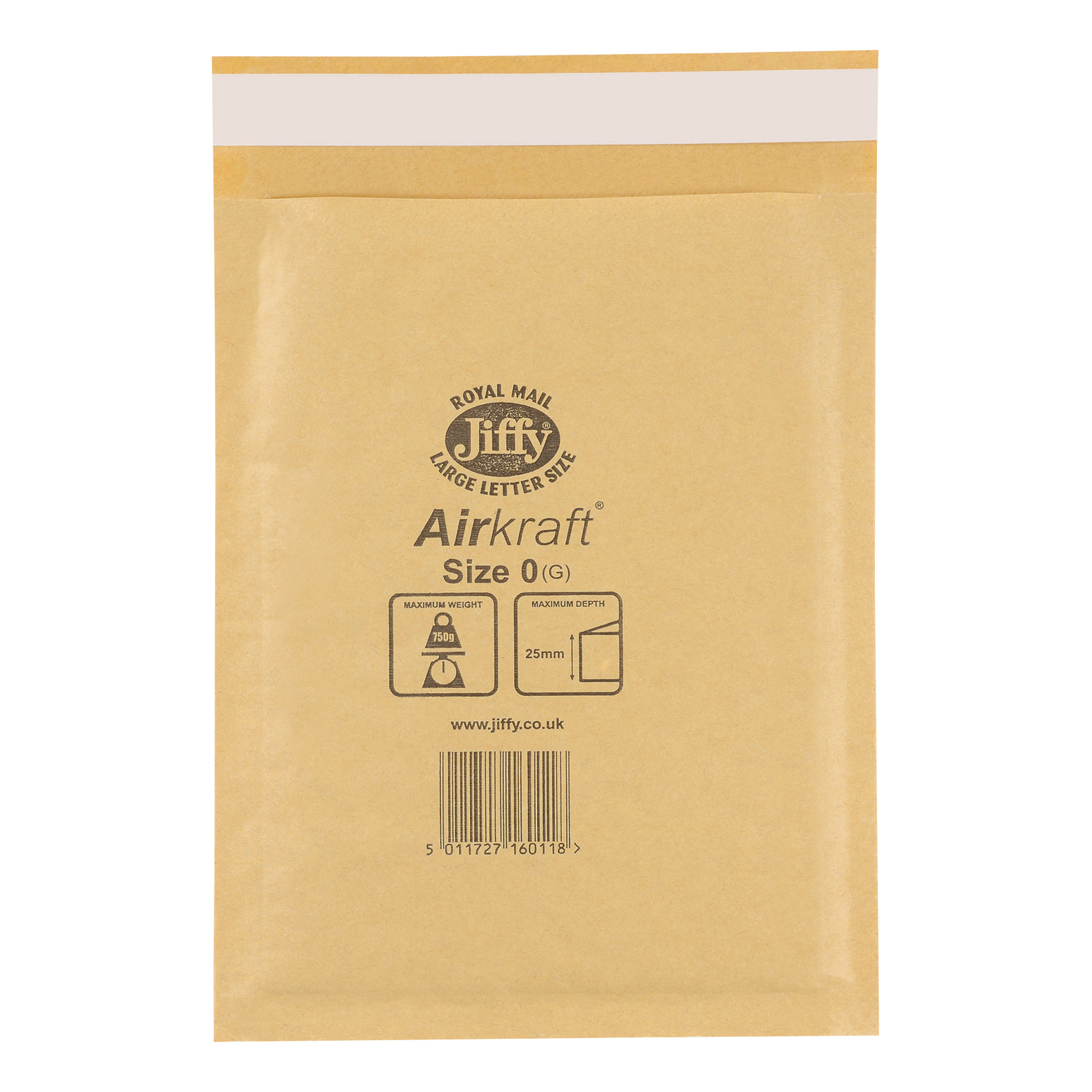 Jiffy Airkraft Bubble Bag Envelopes Size 0 Gold 140x195mm Gold Ref JLGO0 Pack 100