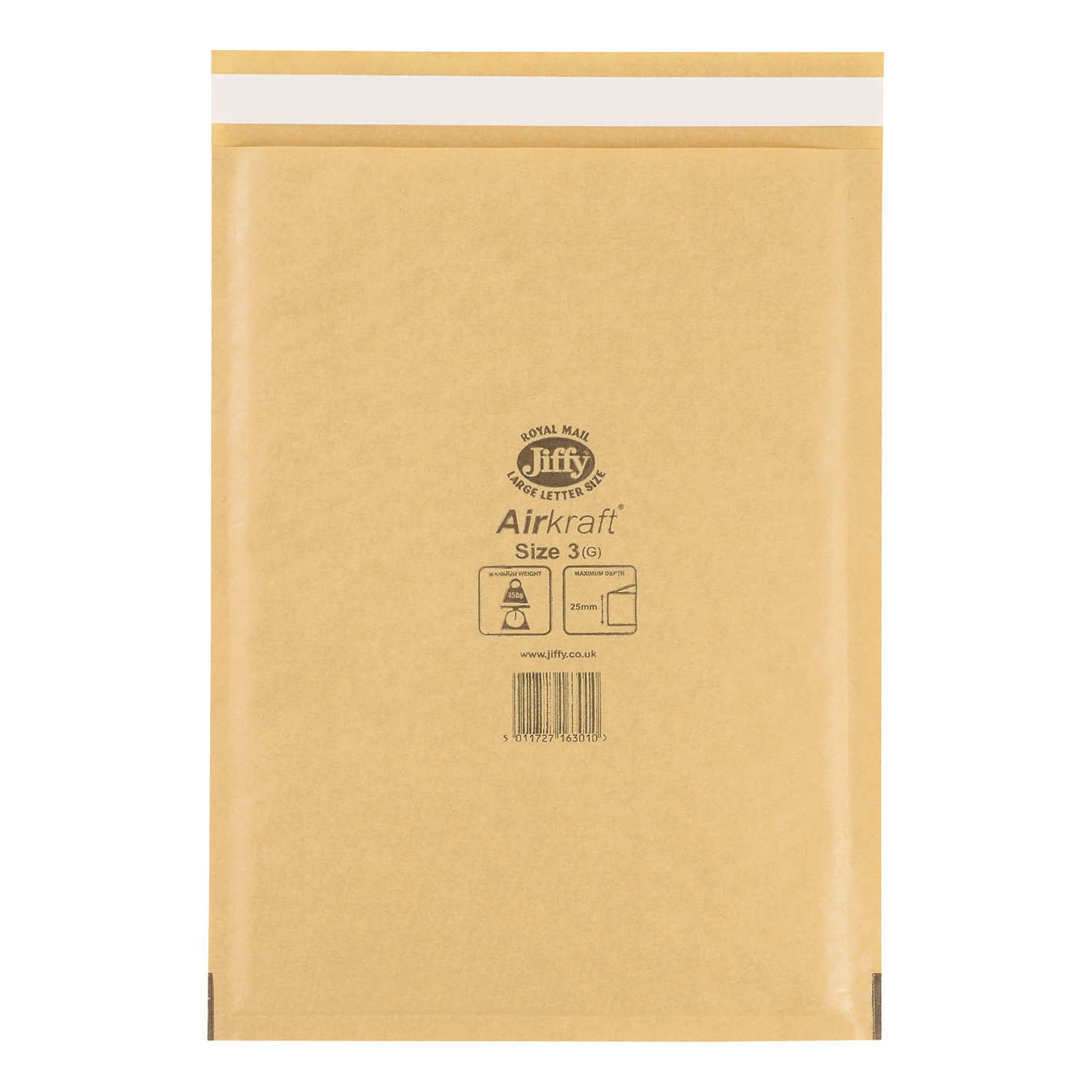 Jiffy Airkraft Bubble Bag Envelopes Size 3 220x320mm Gold Ref JL-GO-3 [Pack 50]