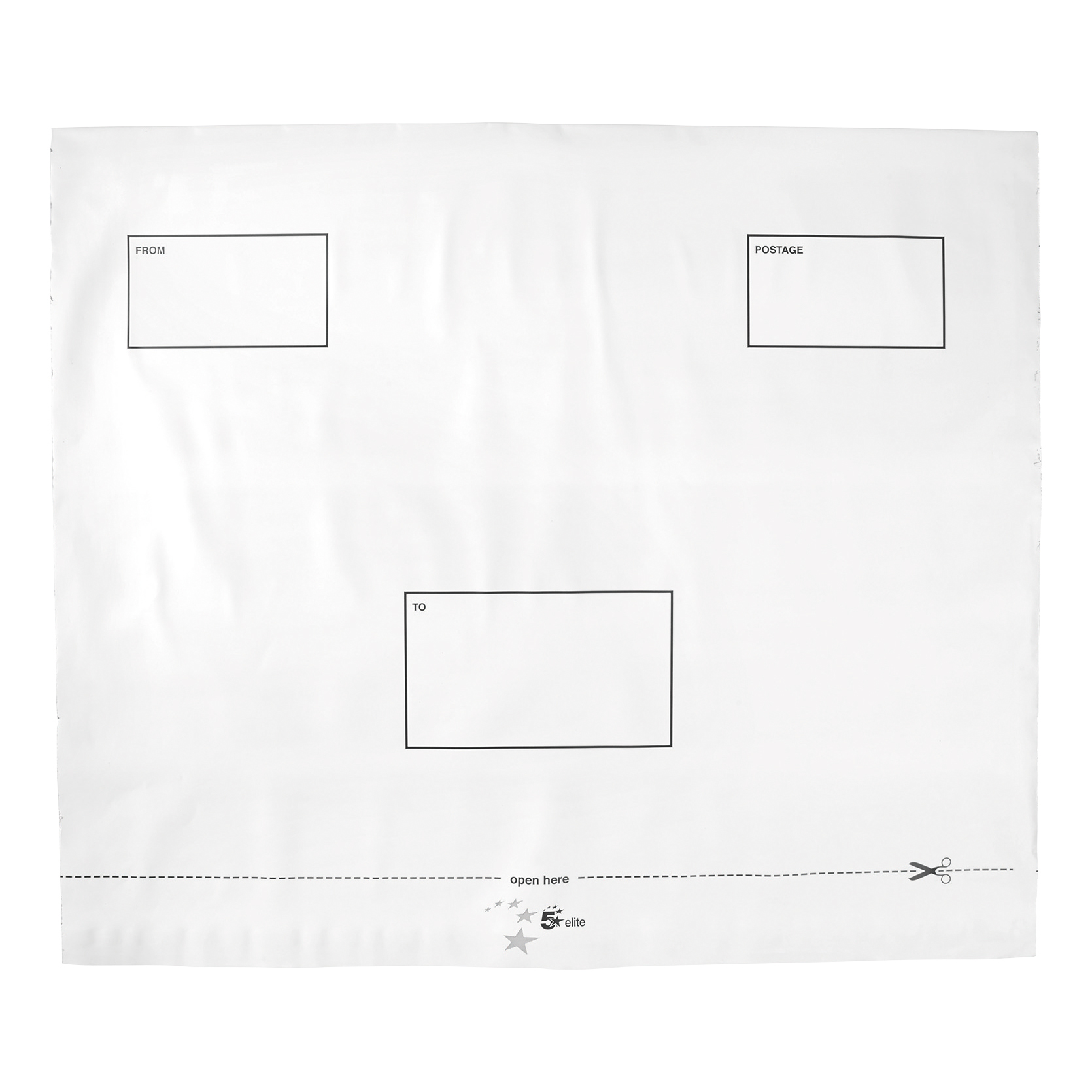 Polythene Envelopes 5 Star Elite Envelopes ExtraStrong Waterproof Polythene Peel & Seal Opaque 440x330mm&50mm Flap [Pack 100]