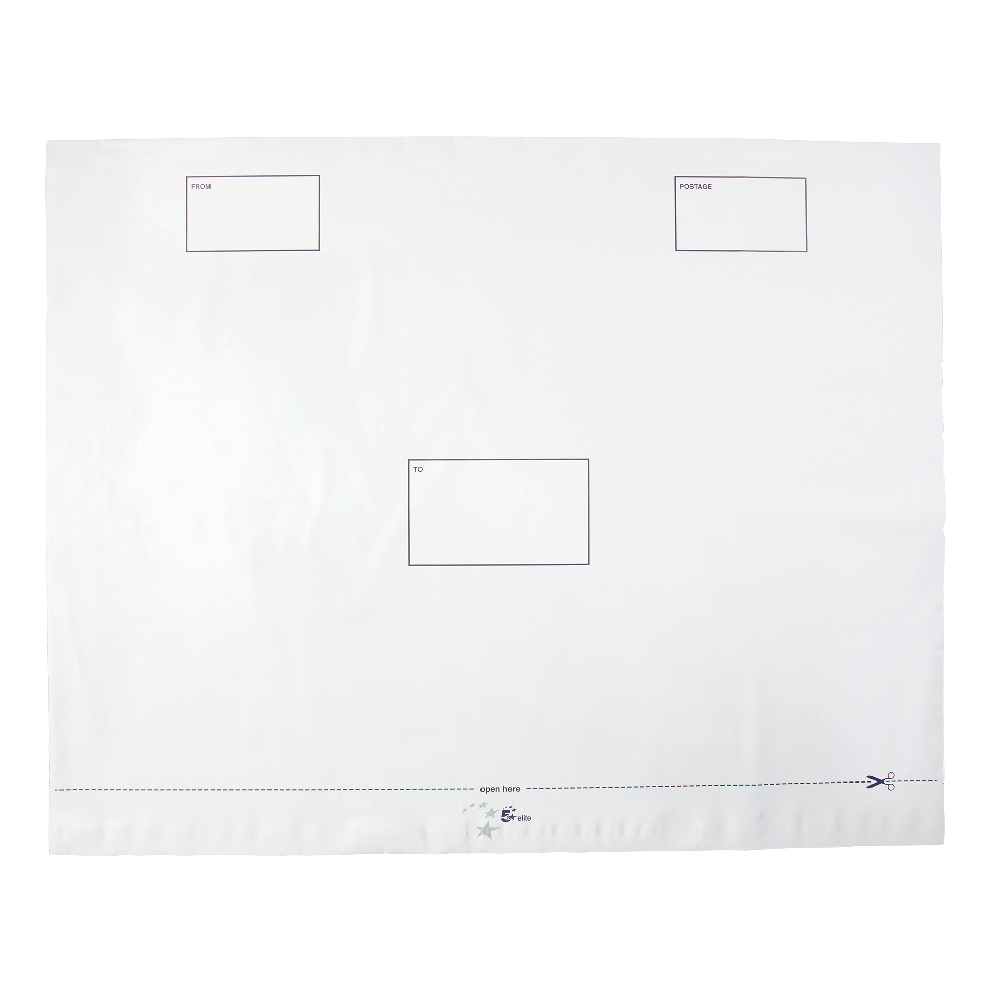 Polythene Envelopes 5 Star Elite Envelopes ExtraStrong Waterproof Polythene Peel & Seal Opaque 600x430mm&50mm Flap [Pack 100]