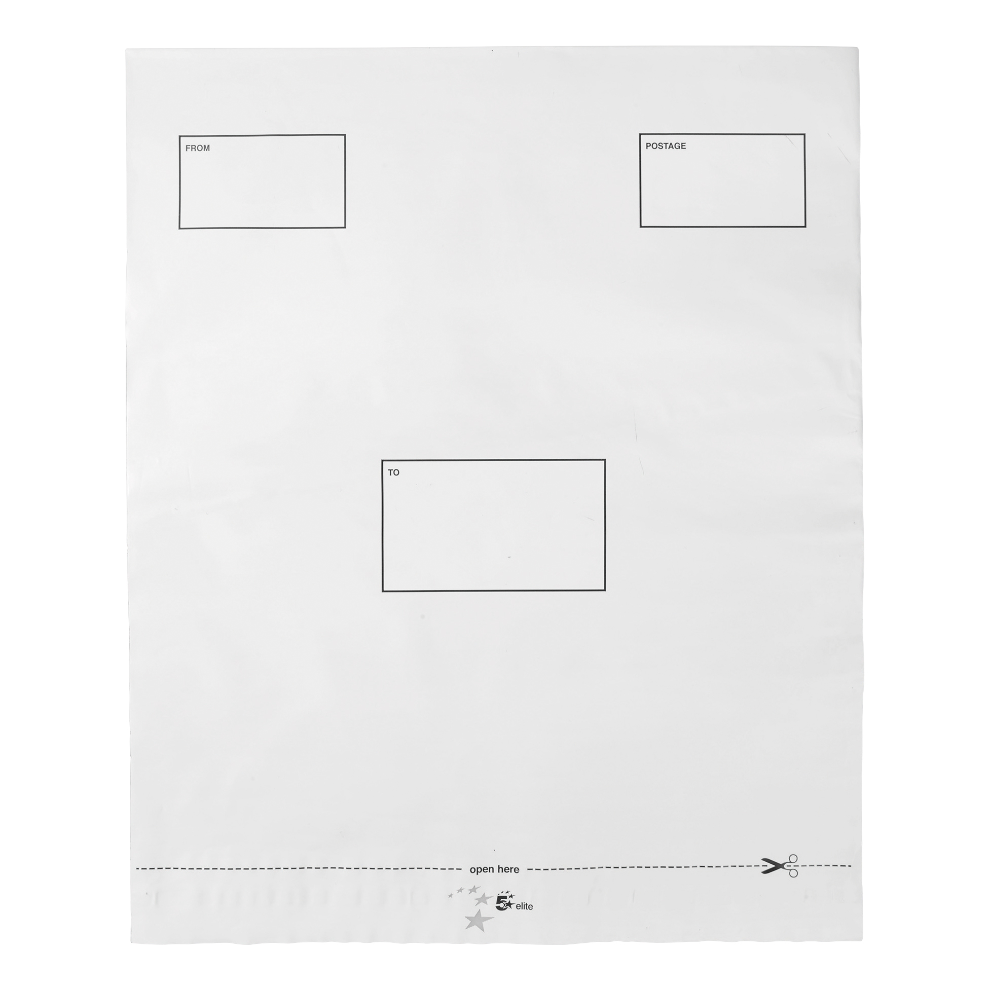 Polythene Envelopes 5 Star Elite DX Bags Self Seal Waterproof White 395x430mm &50mm Flap [Pack 100]