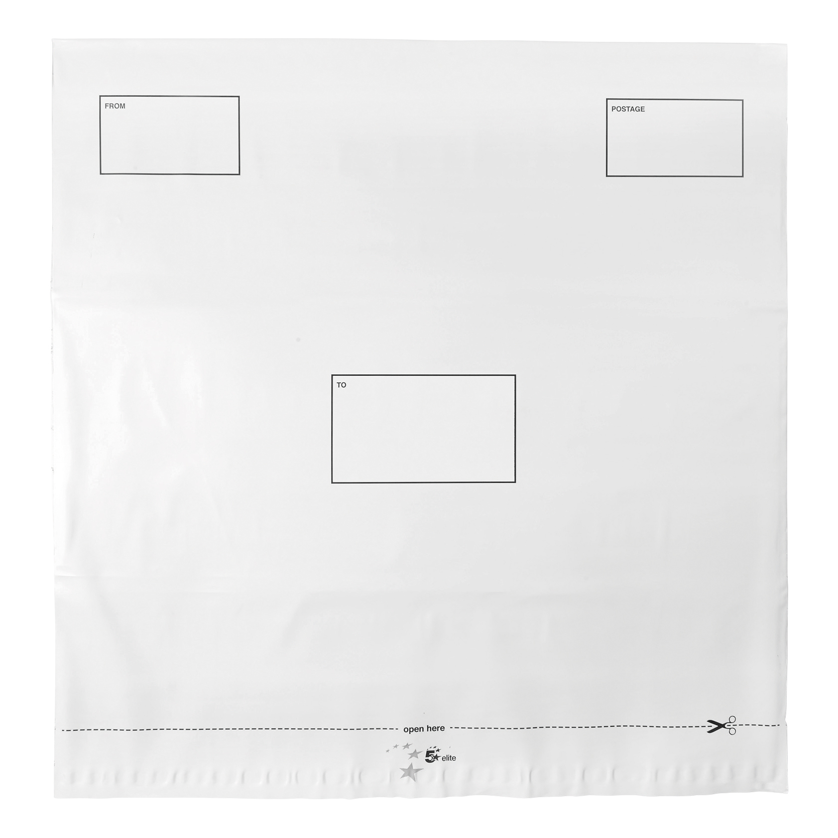 Polythene Envelopes 5 Star Elite DX Bags Self Seal Waterproof White 475x440mm &50mm Flap [Pack 100]