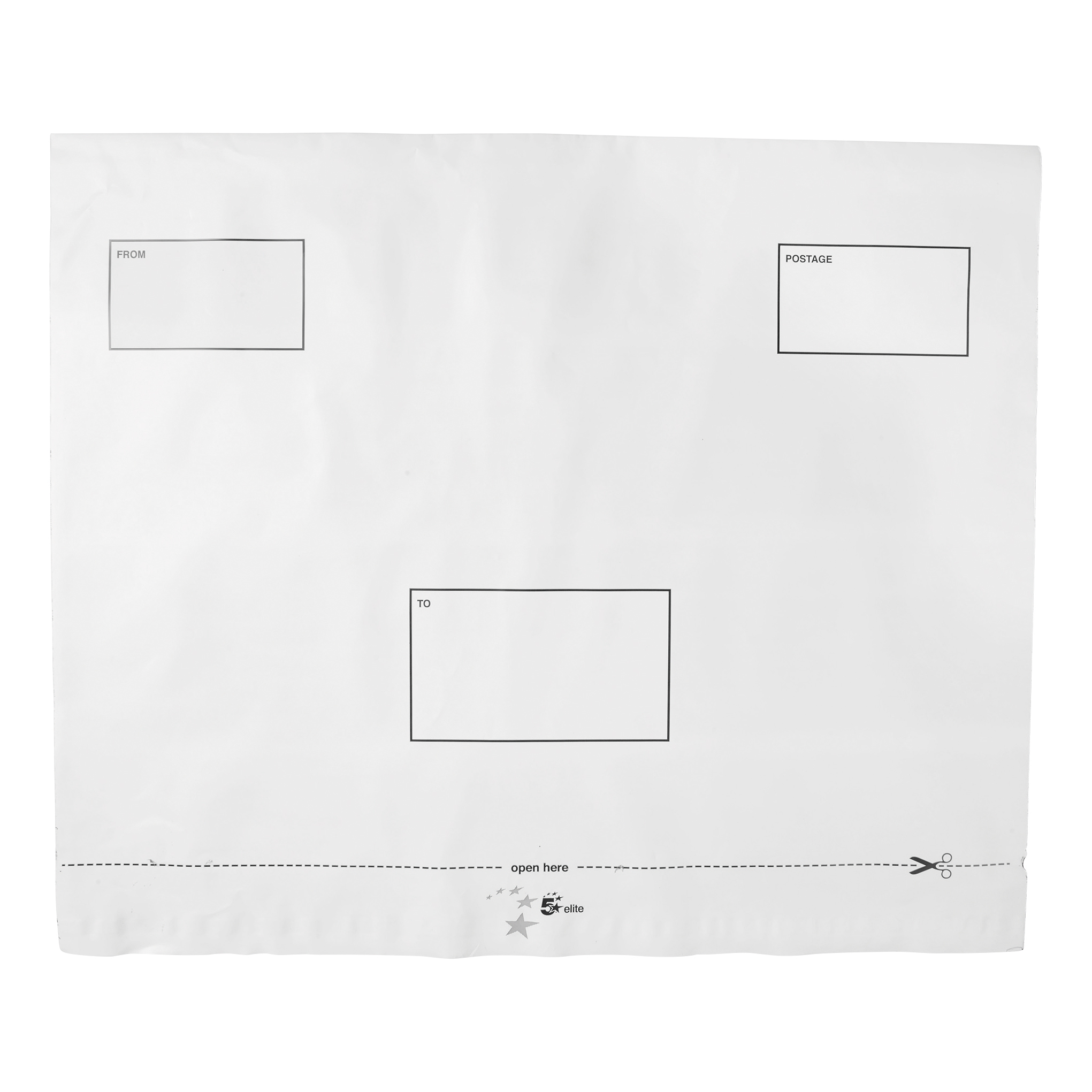 Polythene Envelopes 5 Star Elite DX Bags Self Seal Waterproof White 455x330mm &50mm Flap [Pack 100]