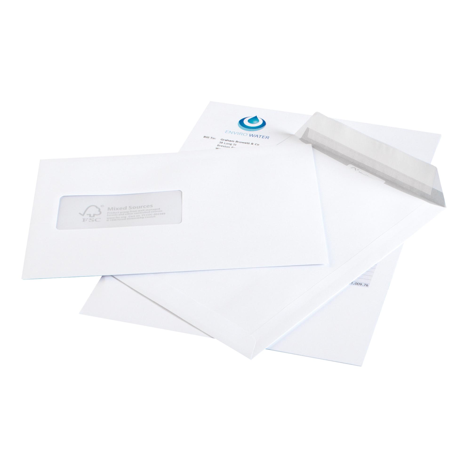 Purely Environmental Mailer Gummd Wndw White 90gsm DL+ 114x229 Ref FSC374 Pk1000 10 Day Leadtime