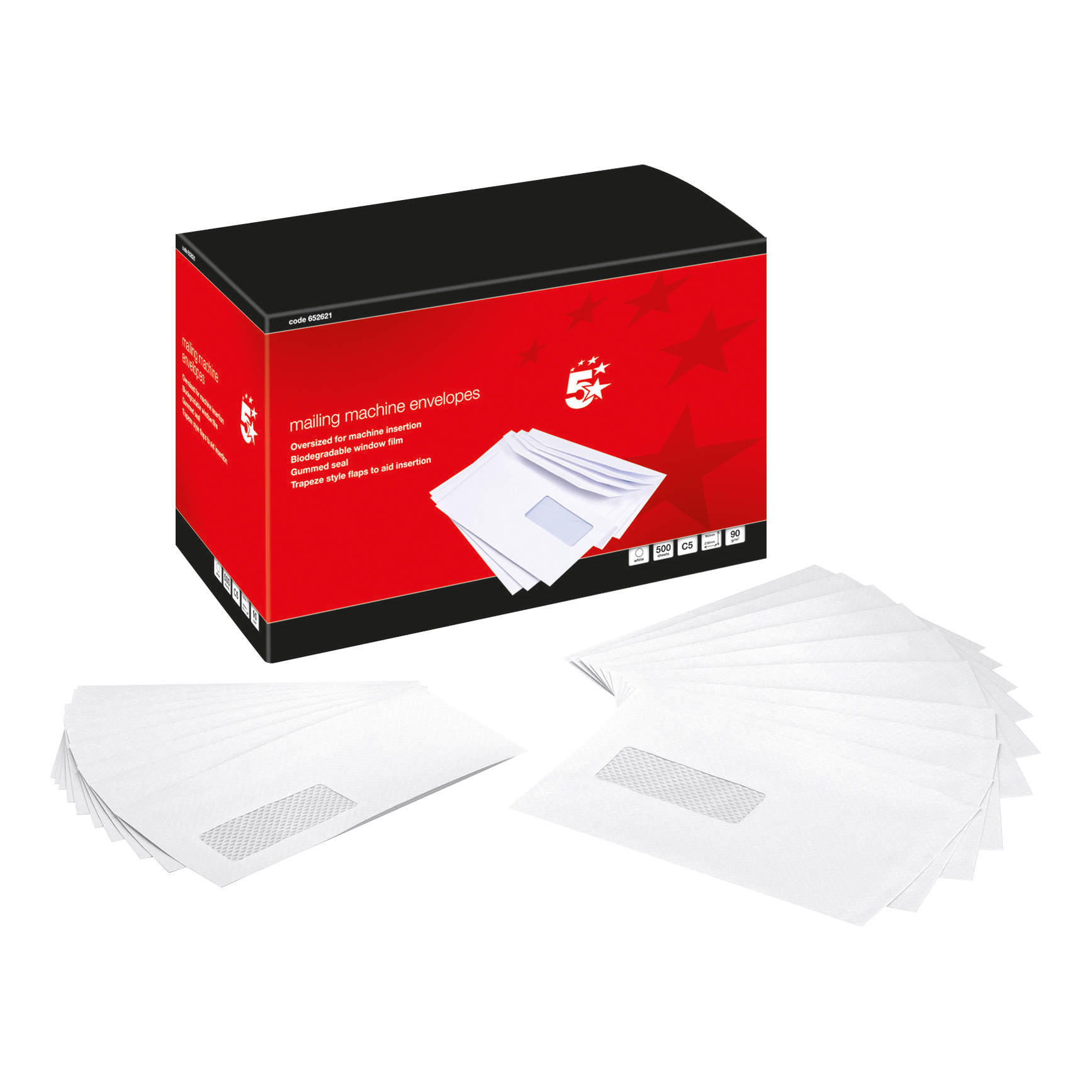 5 Star Office Envelopes Mailing Machine Wallet Gummed with Window 90gsm C5 162x238mm White Pack 500