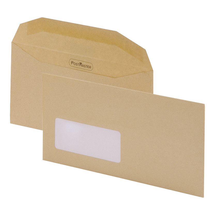Postmaster Mailing Machine Envelopes DL Wallet Gummed with Window 80gsm Manilla Pack 500