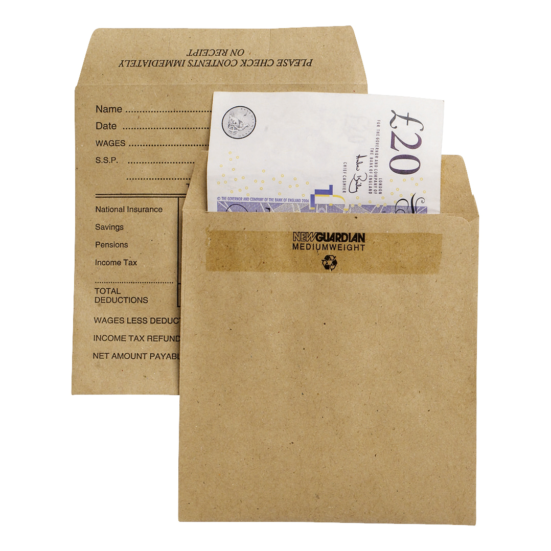 New Guardian Envelopes FSC Wage Pocket Self Seal Med Wght 80gsm 108x102mm Pre-Printed Manilla Pack 1000