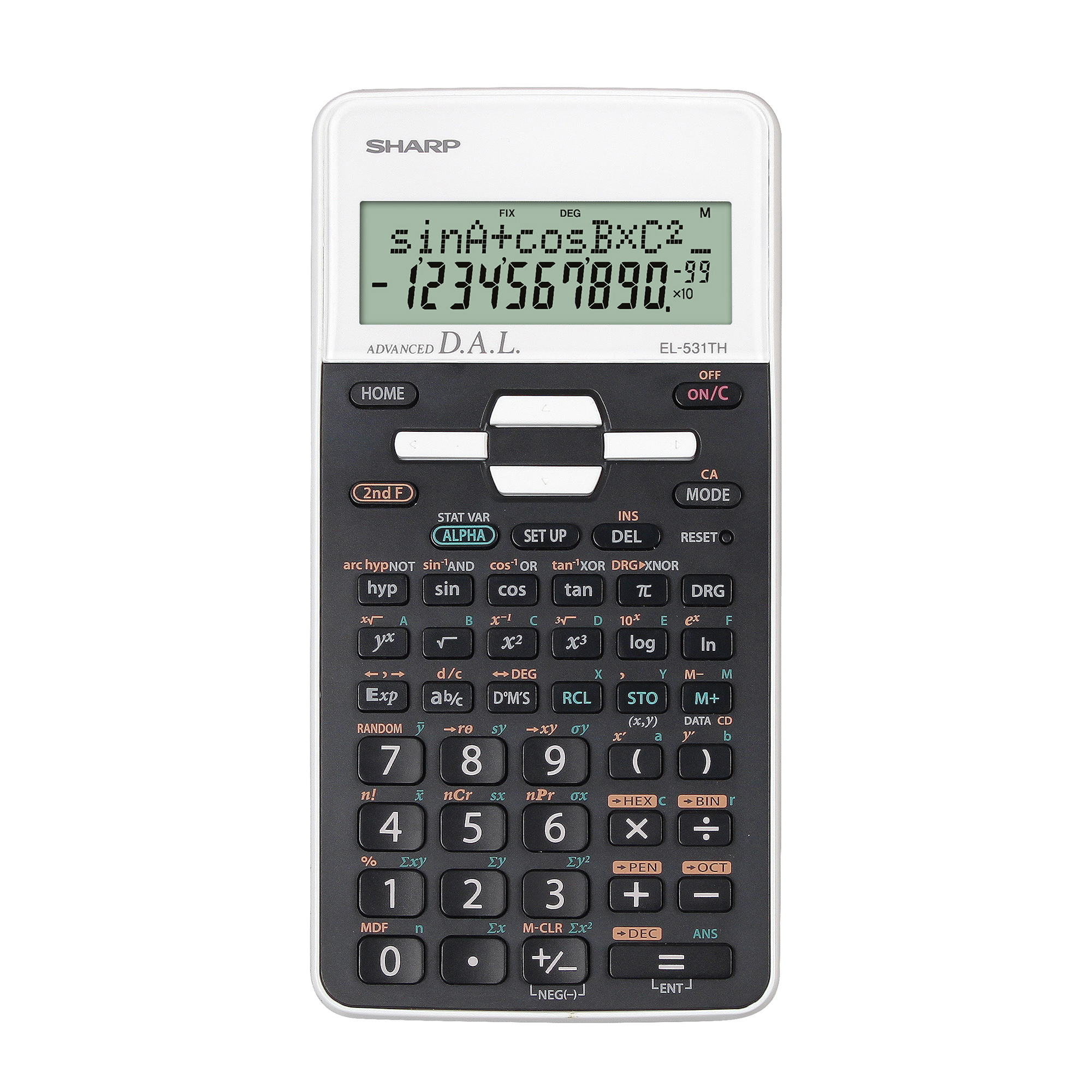 Scientific Calculator Sharp Scientific EL-W531 Calculator 335 Functions White Ref SH-EL531THBWH