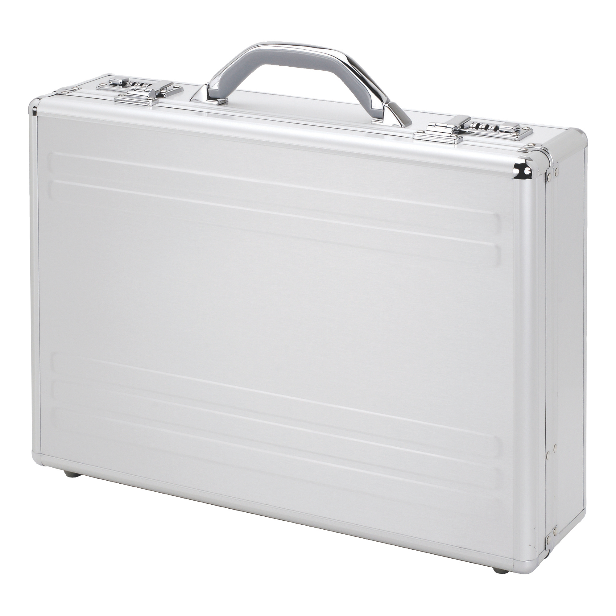 Alumaxx Kronos Laptop Attache Case with Padding 2 Combination Locks Silver Aluminium Ref 45131