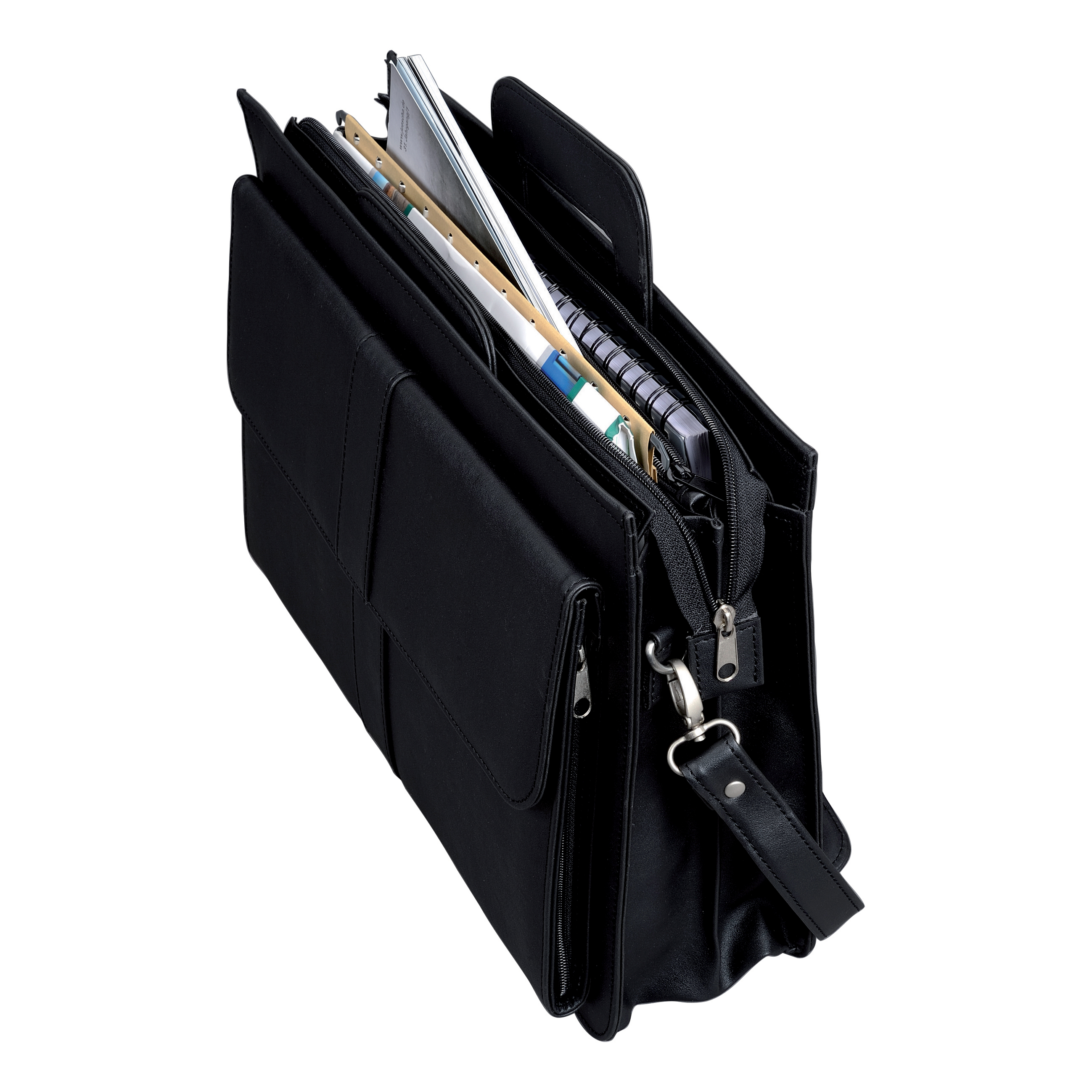 2d3689b0b5f Image for Alassio Document Case Multi-section Zipped with Shoulder Strap  Leather-look Black