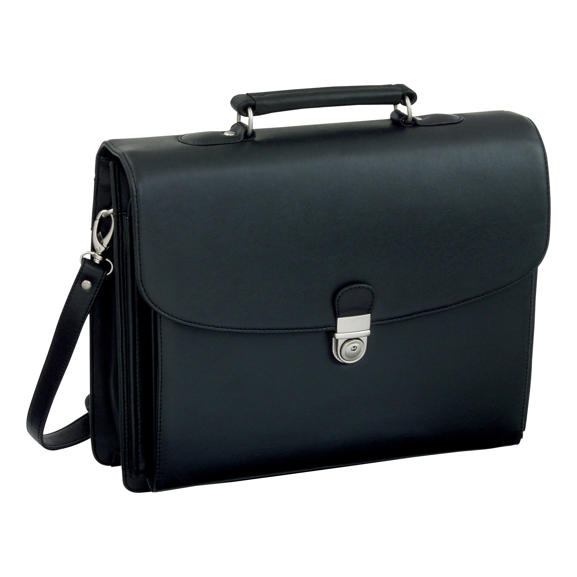 Briefcases Alassio Forte Briefcase with Shoulder Strap 5 Document Sections Leather-look Black Ref 92011