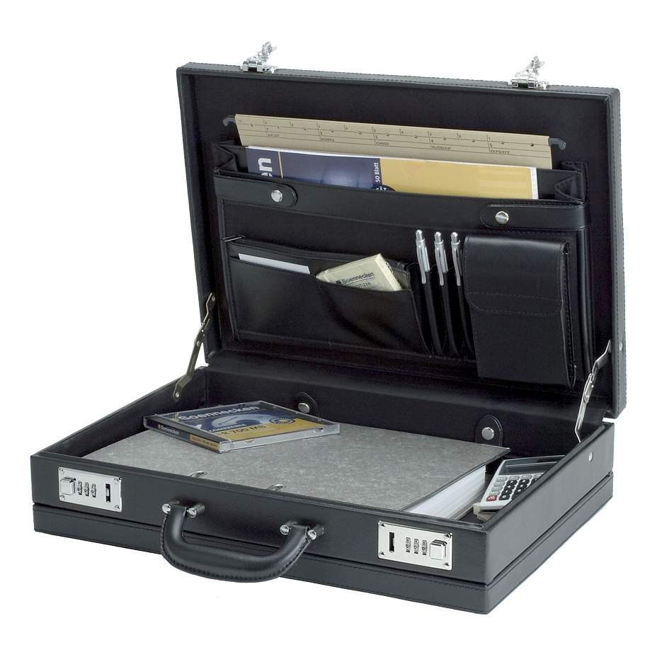 Image for Alassio Ponte Attache Case Multi-section Expandable Leather-look Black Ref 92300