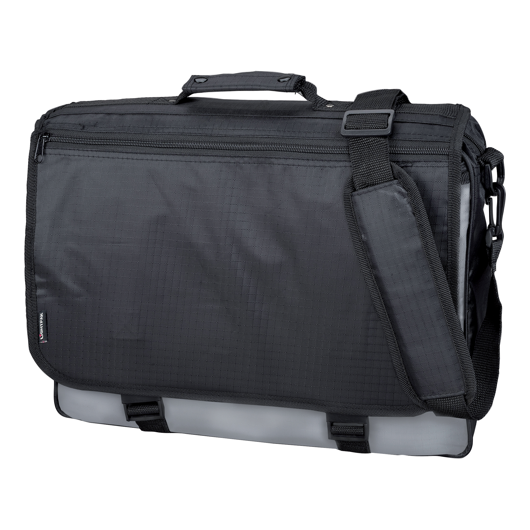 Briefcases & Luggage LightPak Wave Messenger Bag Polyester Black/Grey Ref 46069