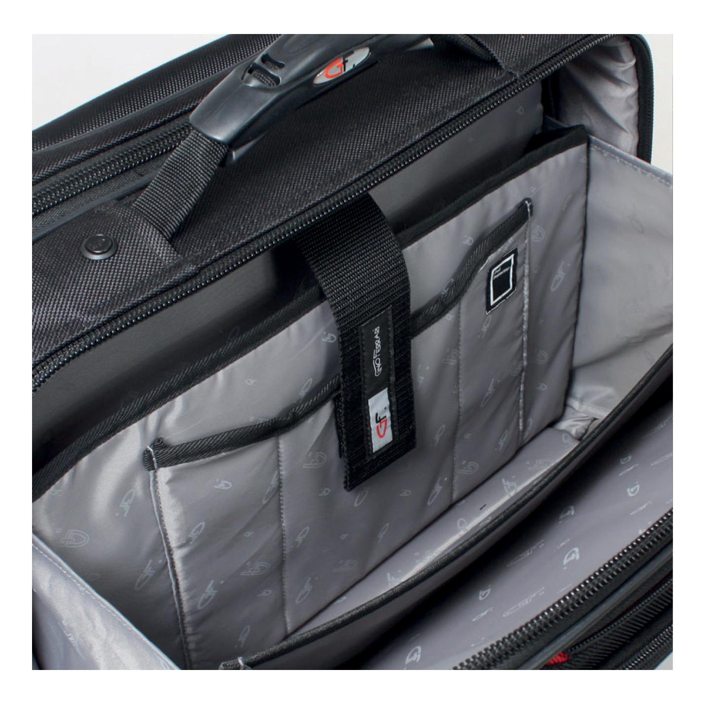 Gino Ferrari Brooklyn Business Bag Padded Wheeled On-board Size 16in Laptop Black Ref GF565