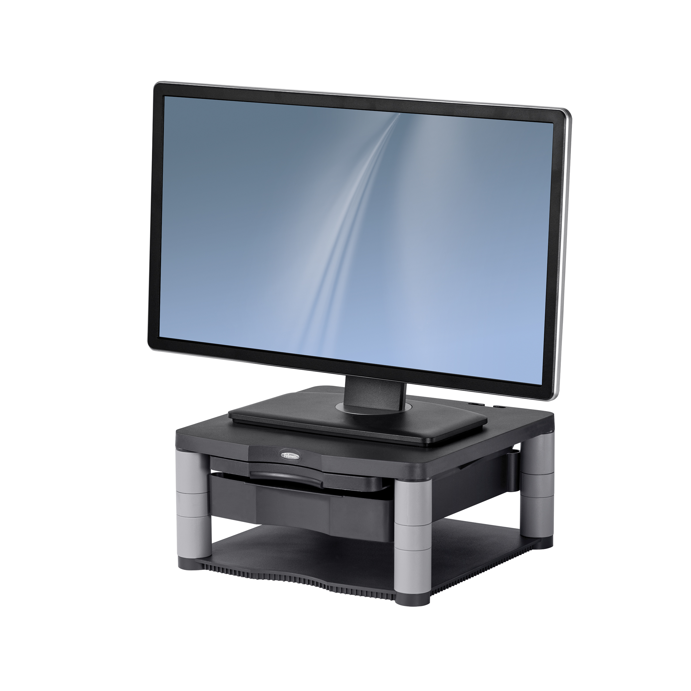 Fellowes Premium Monitor Riser for 21in Capacity 36kg 5 Heights 64-165mm Platinum Ref 91717