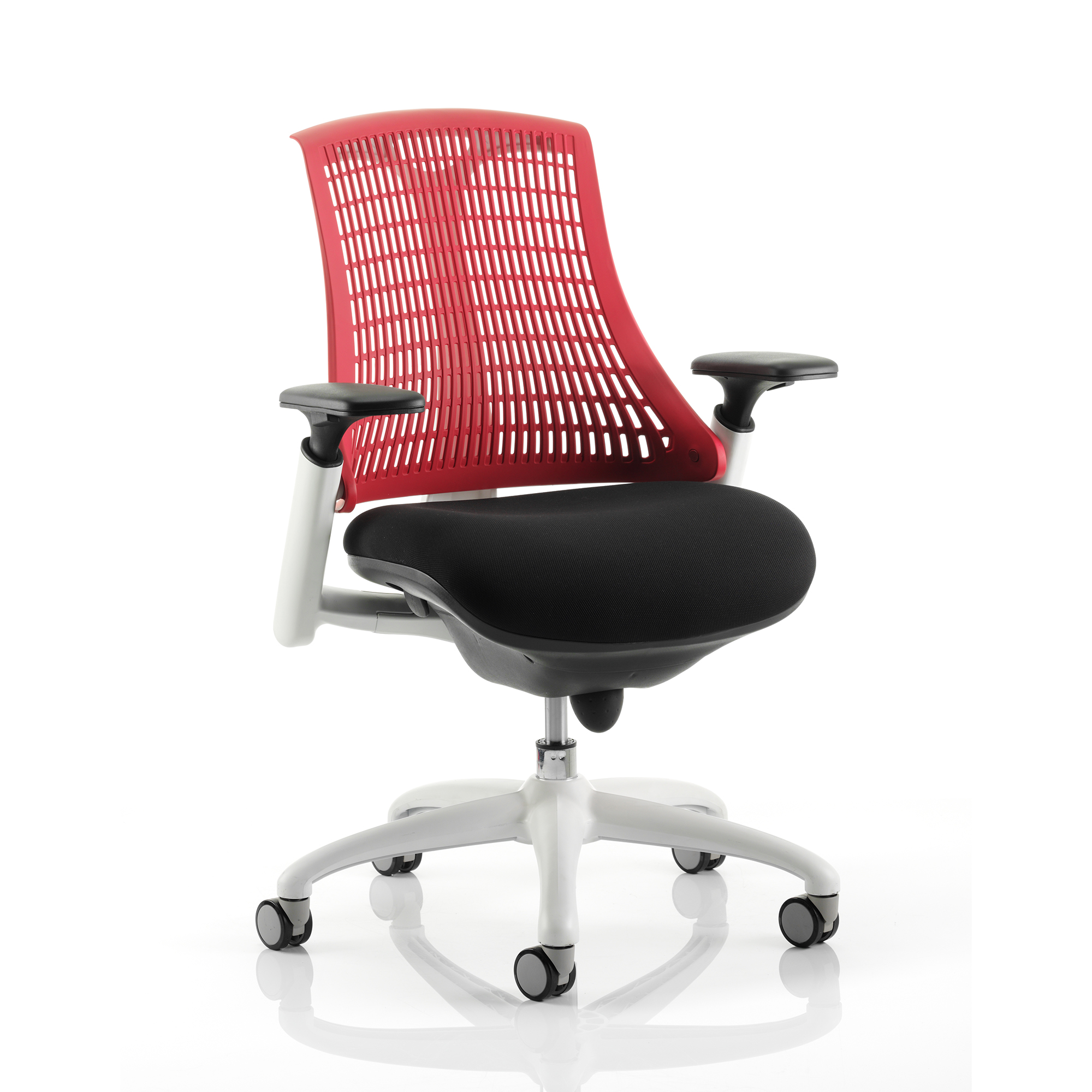 Trexus Flex Task Operator Chair With Arms Black Fabric Seat Red Back White Frame Ref KC0057