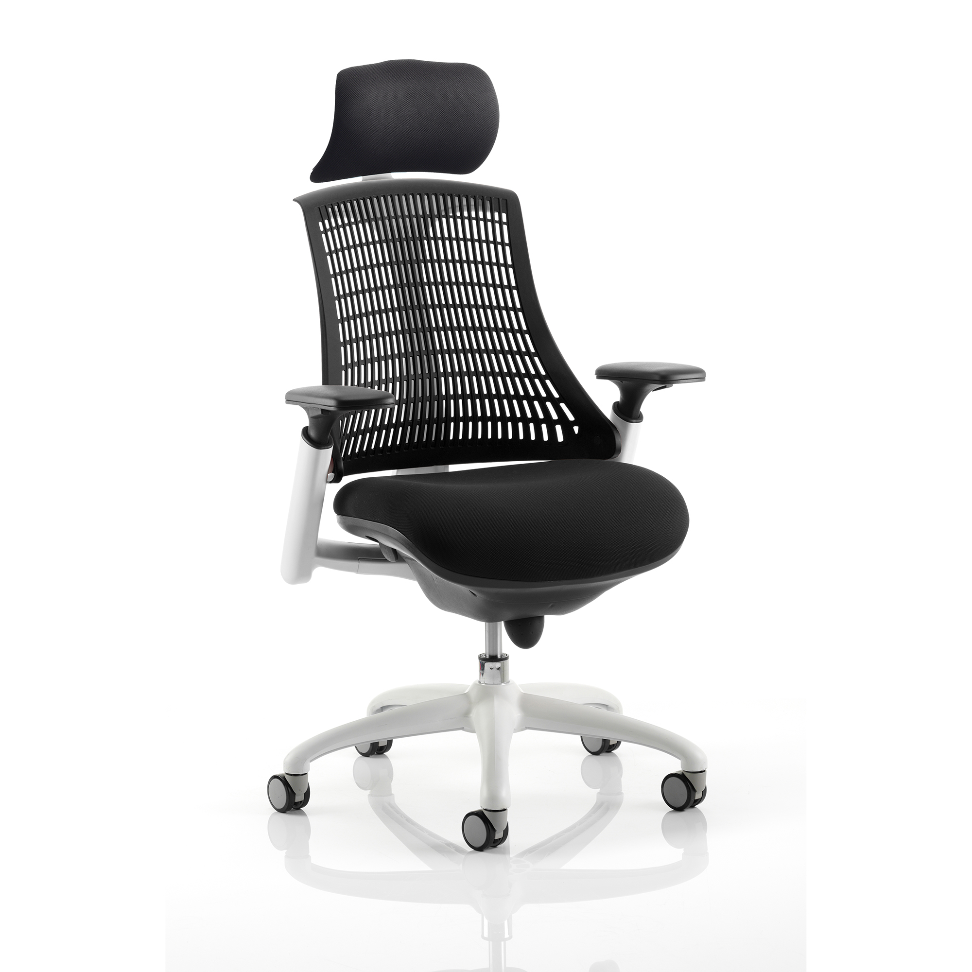 Guest seating Trexus Flex Task Operator Chair With Arms And Headrest Blk Fabric Seat Black Back White Frame Ref KC0087