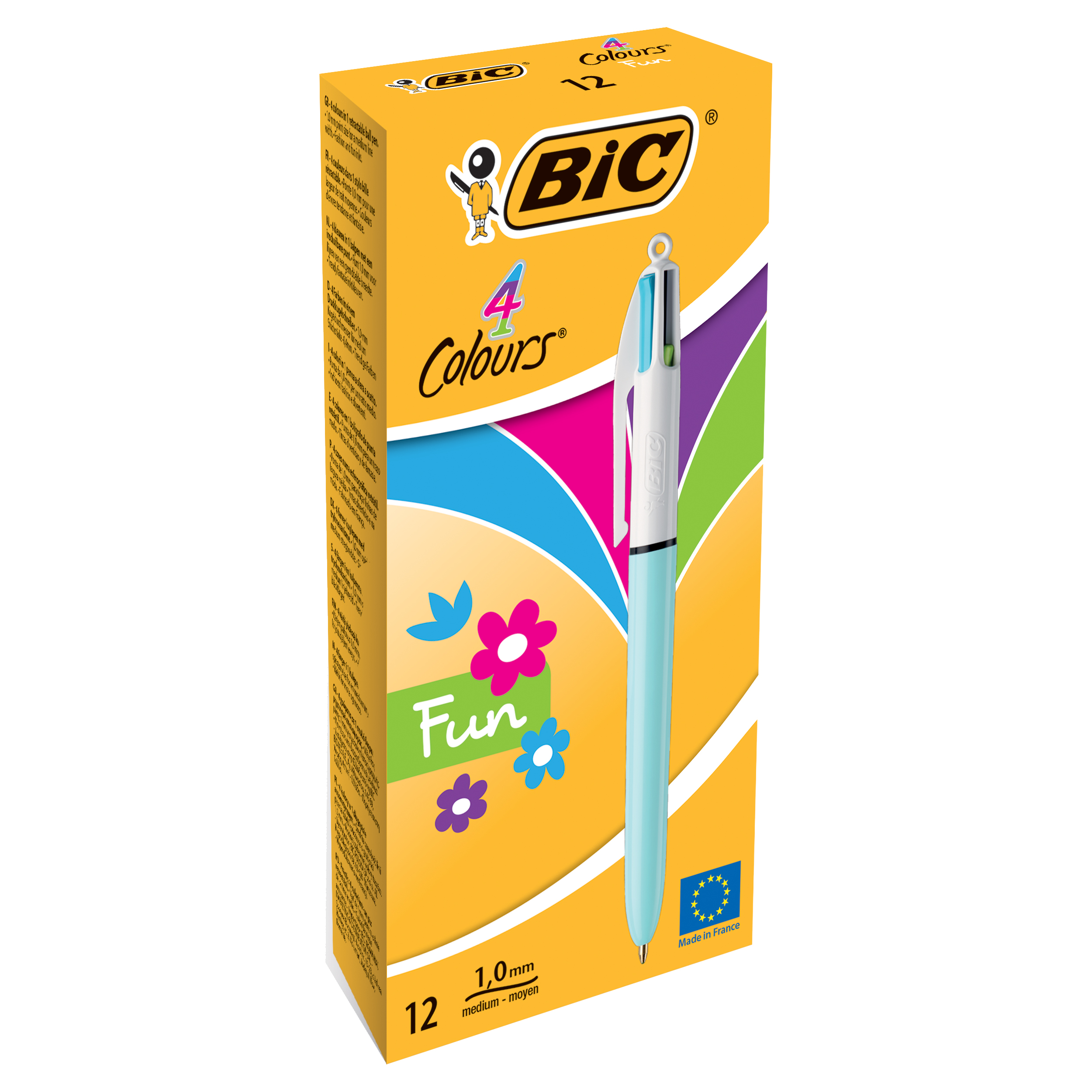 Bic 4-Colour Fun Ball Pen 1.0mm Tip 0.32mm Line Pink Purple Turquoise Lime Green Ref 887777 Pack 12