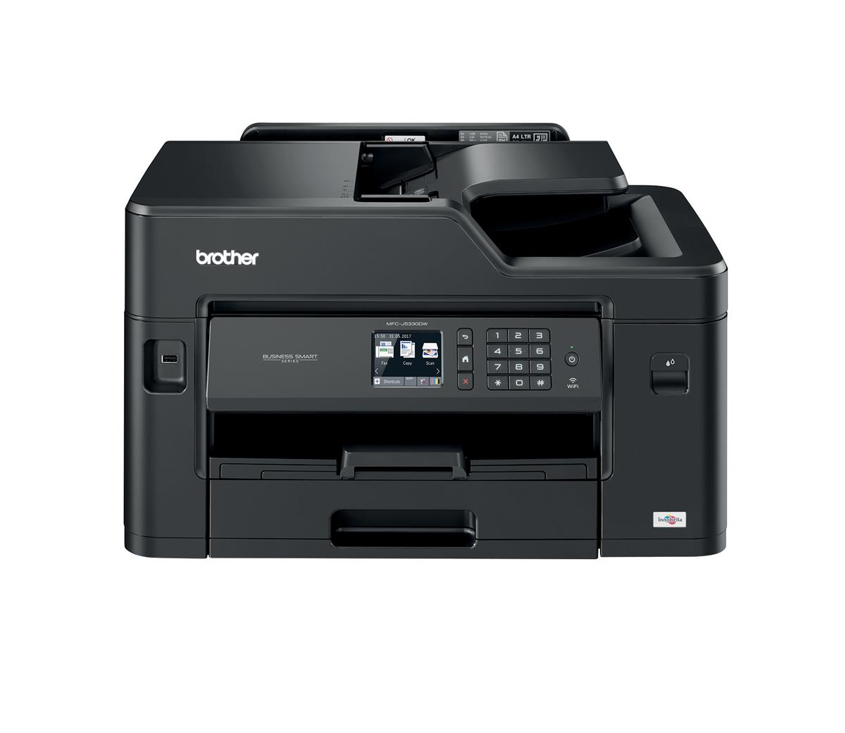 Image for Brother Colour Inkjet Multifunction Printer Wired and Wireless 20ipm A3 Black Ref MFCJ5330DWZU1