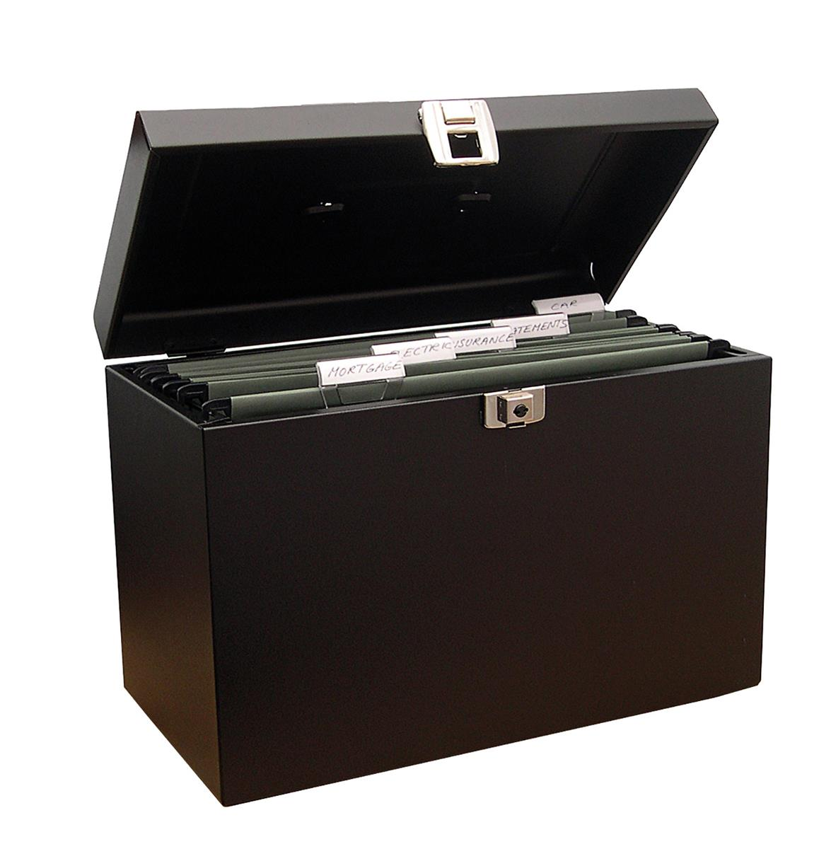 Image for File Box with 5 Suspension Files and 2 Keys Steel A4 Black