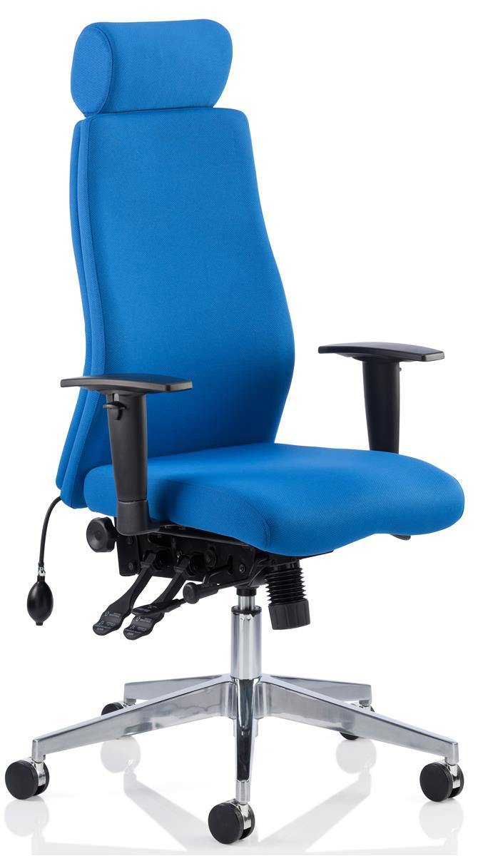 Image for Adroit Posture Chair Height-adjustable Arms Flat Packed Fabric Blue