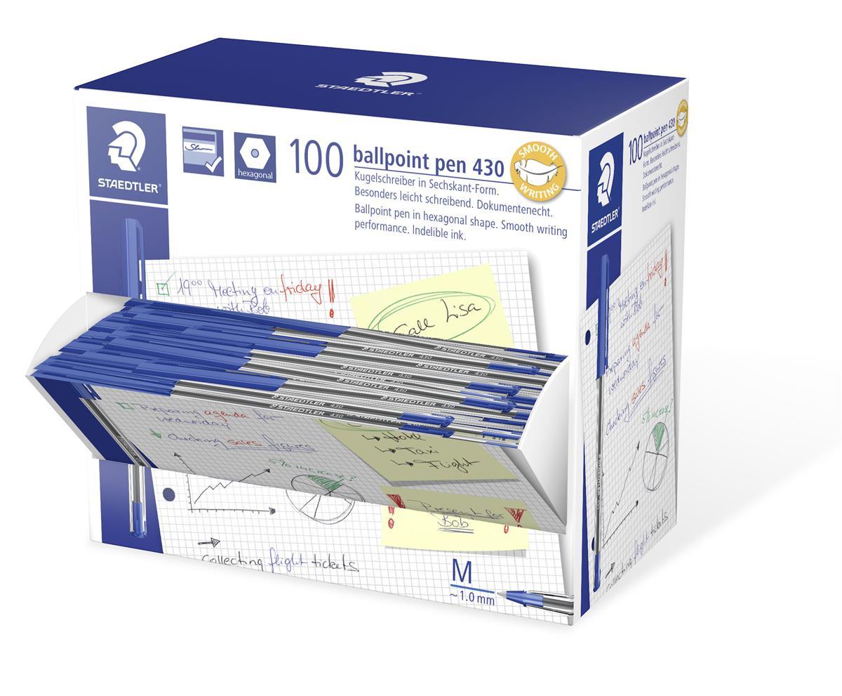 Image for Staedtler 430 Stick Ball Pen Medium 1.0mm Tip 0.35mm Line Blue Ref 430M-3 [Pack 100]