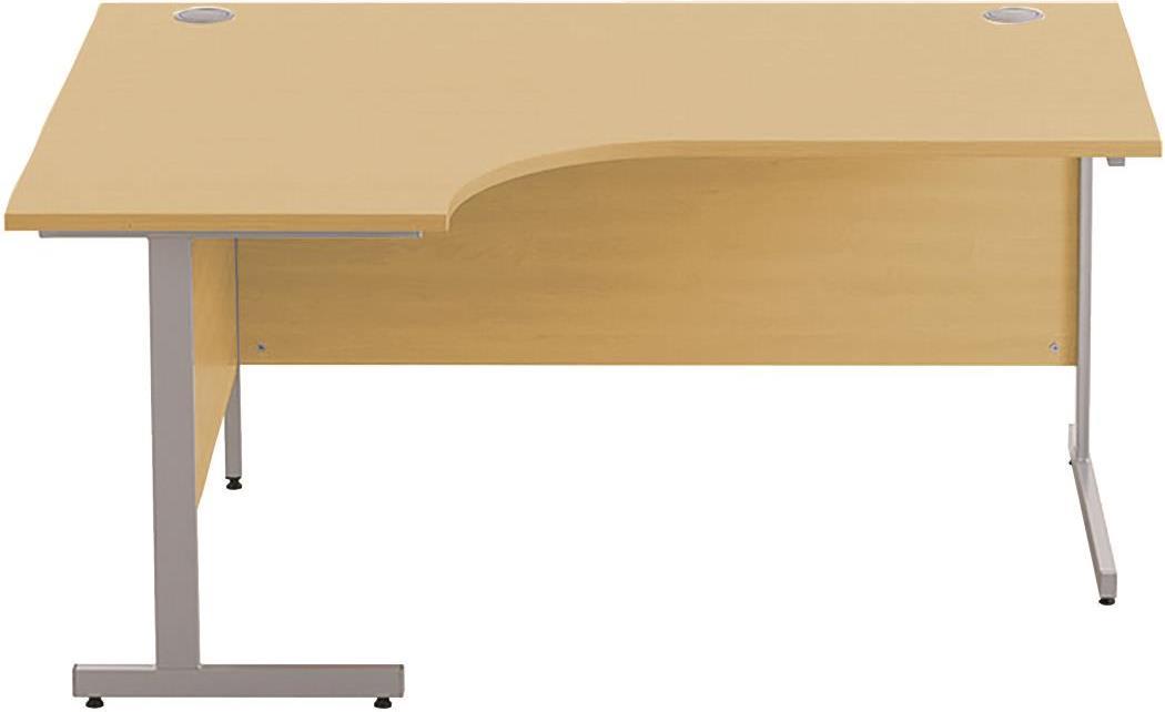 Image for Sonix Cantilever Radial Desk Silver Cantilever Leg 1600mm Natural Oak